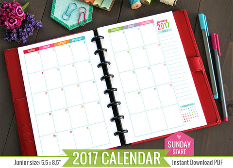 2017 JR Printable Monthly Inserts (Sunday Start)