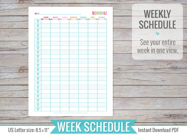 Weekly Schedule Insert Printable