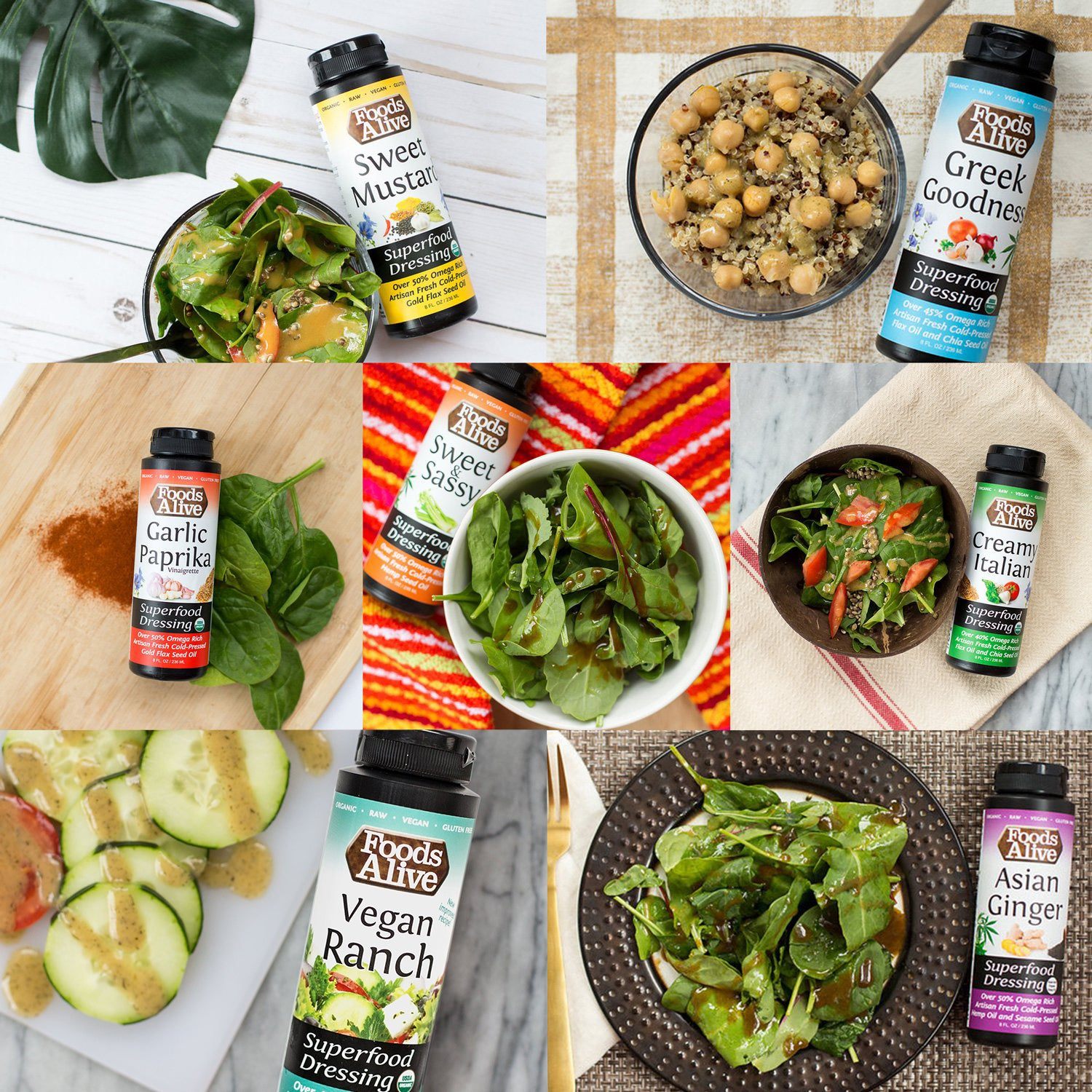 Artisan Cold-Pressed Salad Dressings | Organic, Non-GMO, Gluten-Free, Raw, Vegan, Kosher | Asian, Ranch, Italian, Greek, Garlic Paprika, Sweet Mustard, Sweet & Sassy