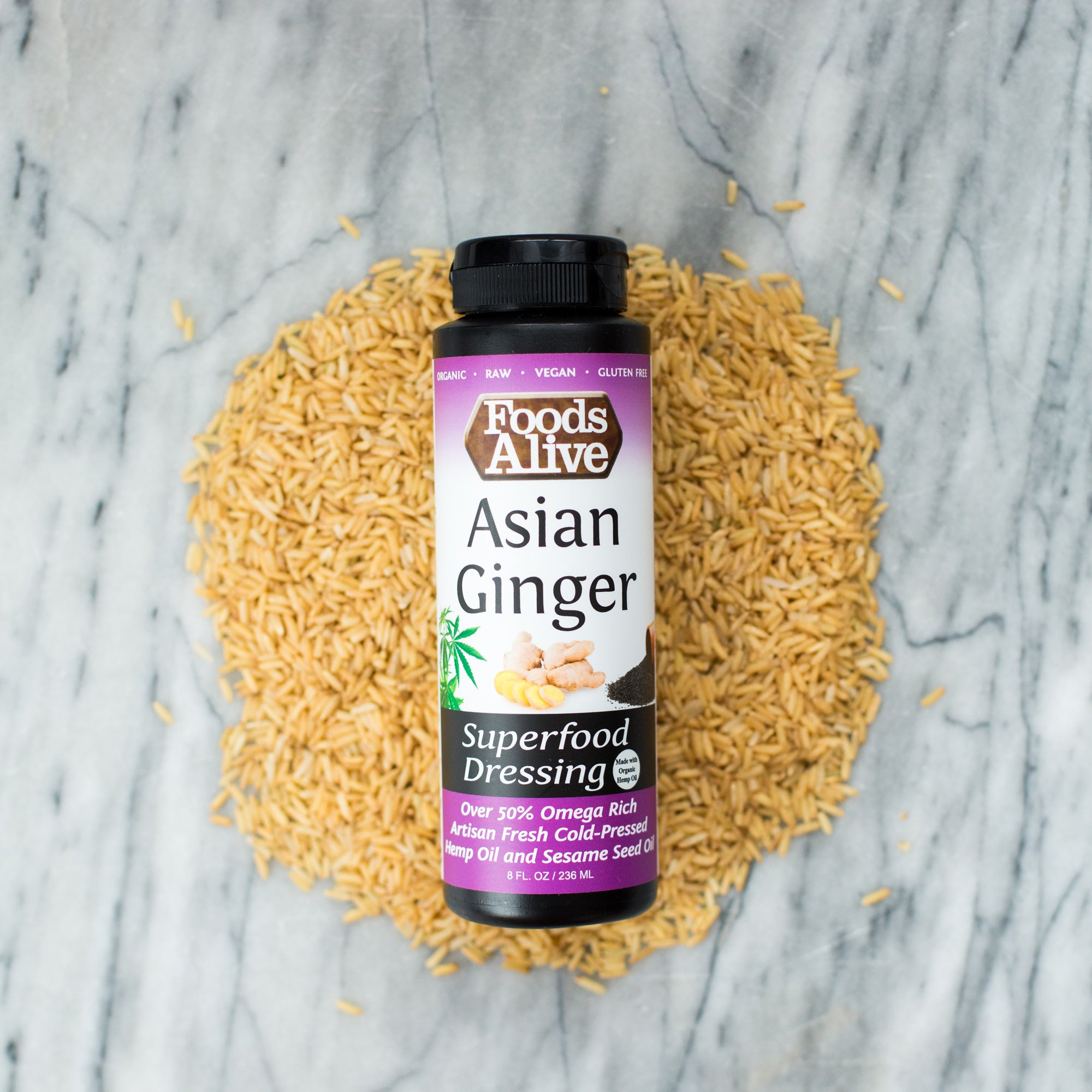 Organic Asian Ginger Salad Dressing | Artisan, Cold-Pressed Black Sesame & Hemp Oils | Raw, Vegan, Gluten Free, Kosher, Non-GMO | Foods Alive