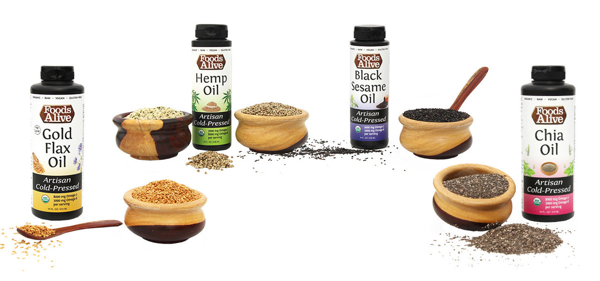 Foods Alive Artisan Cold-Pressed Oils - Gold Flax, Black Sesame, Hemp, Chia Oils - Organic