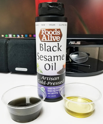 Organic Artisan Cold-Pressed Black Sesame Oil Oil Comparison Before Shaking Bottle & After Shaking Bottle - Foods Alive
