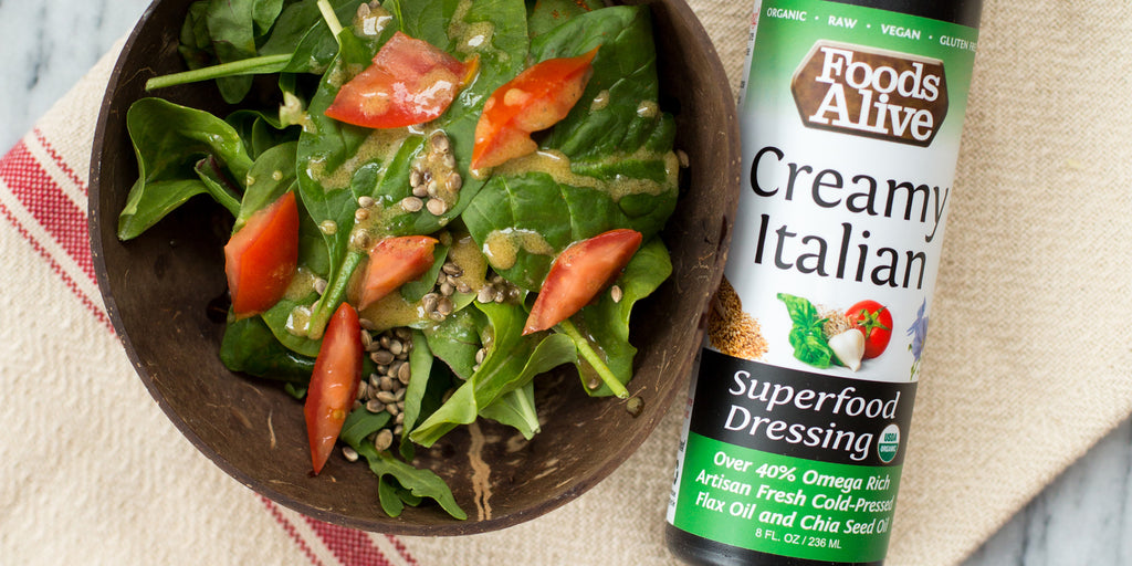 Organic Creamy Italian Salad Dressing | Artisan Cold-Pressed Gold Flax Oil & Chia Oil | Foods Alive