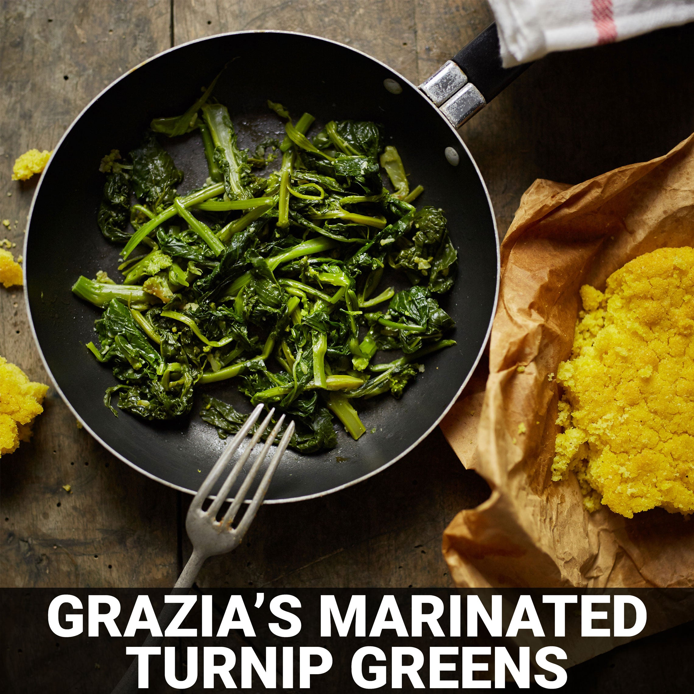 Grazia's Version of (Raw) Marinated Turnip Greens Recipe - Foods Alive