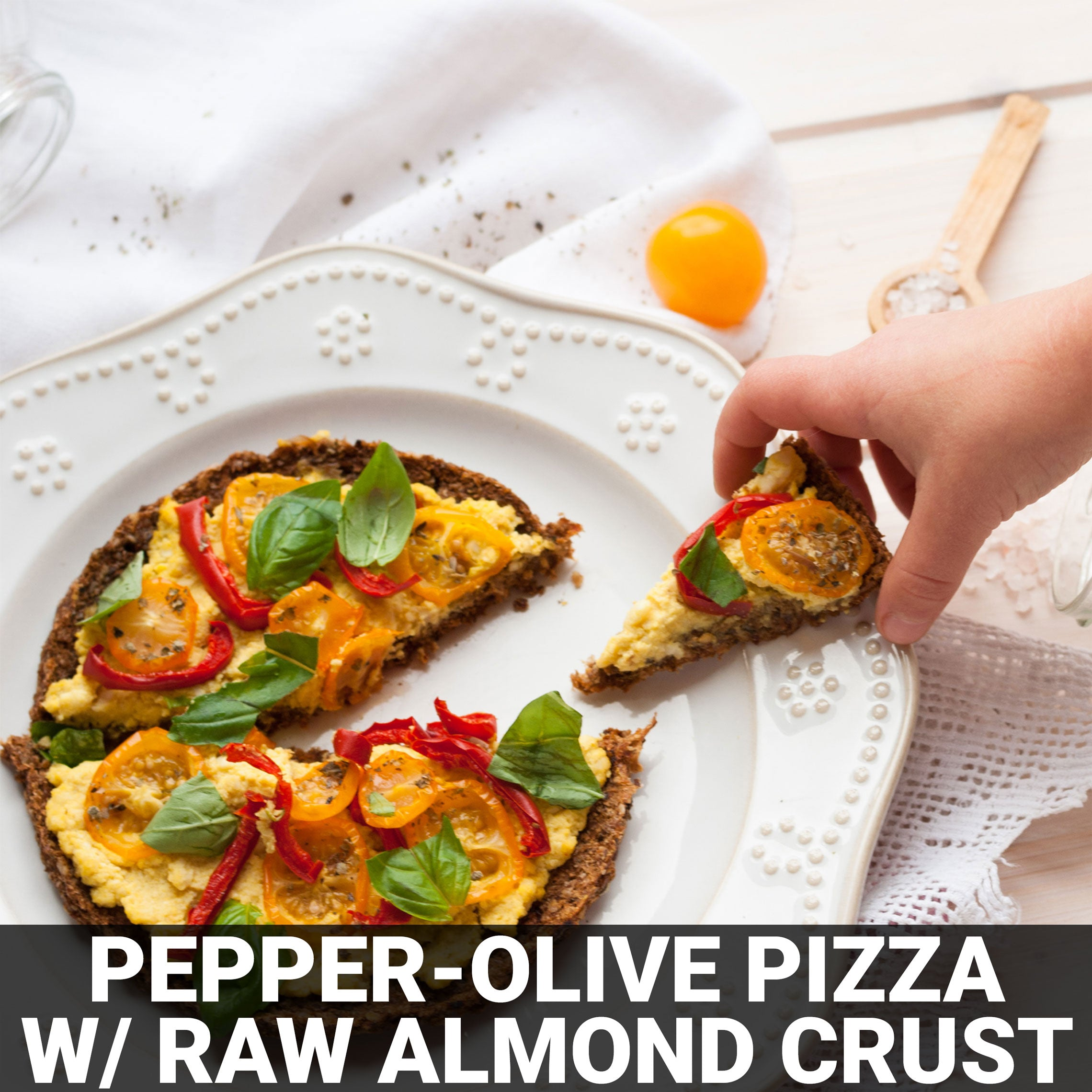 Pepper-Olive Pizza with Raw Almond Crust Recipe - Foods Alive