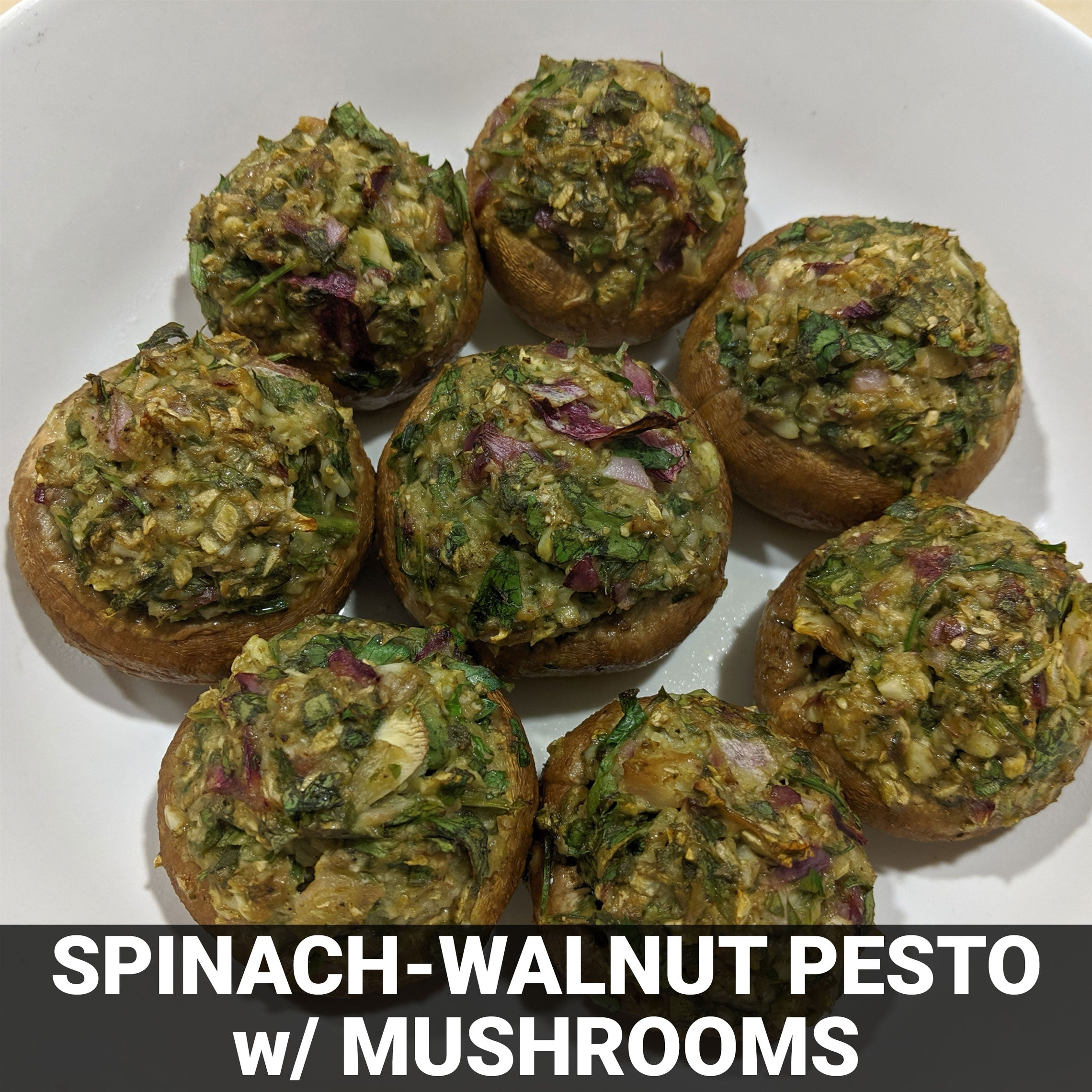 Spinach-Walnut Pesto and Pignolia Cheese-Stuffed Mushrooms Recipe - Foods Alive
