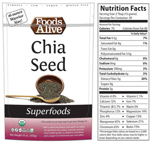 16oz Chia Seed with Nutritional Panel - Foods Alive