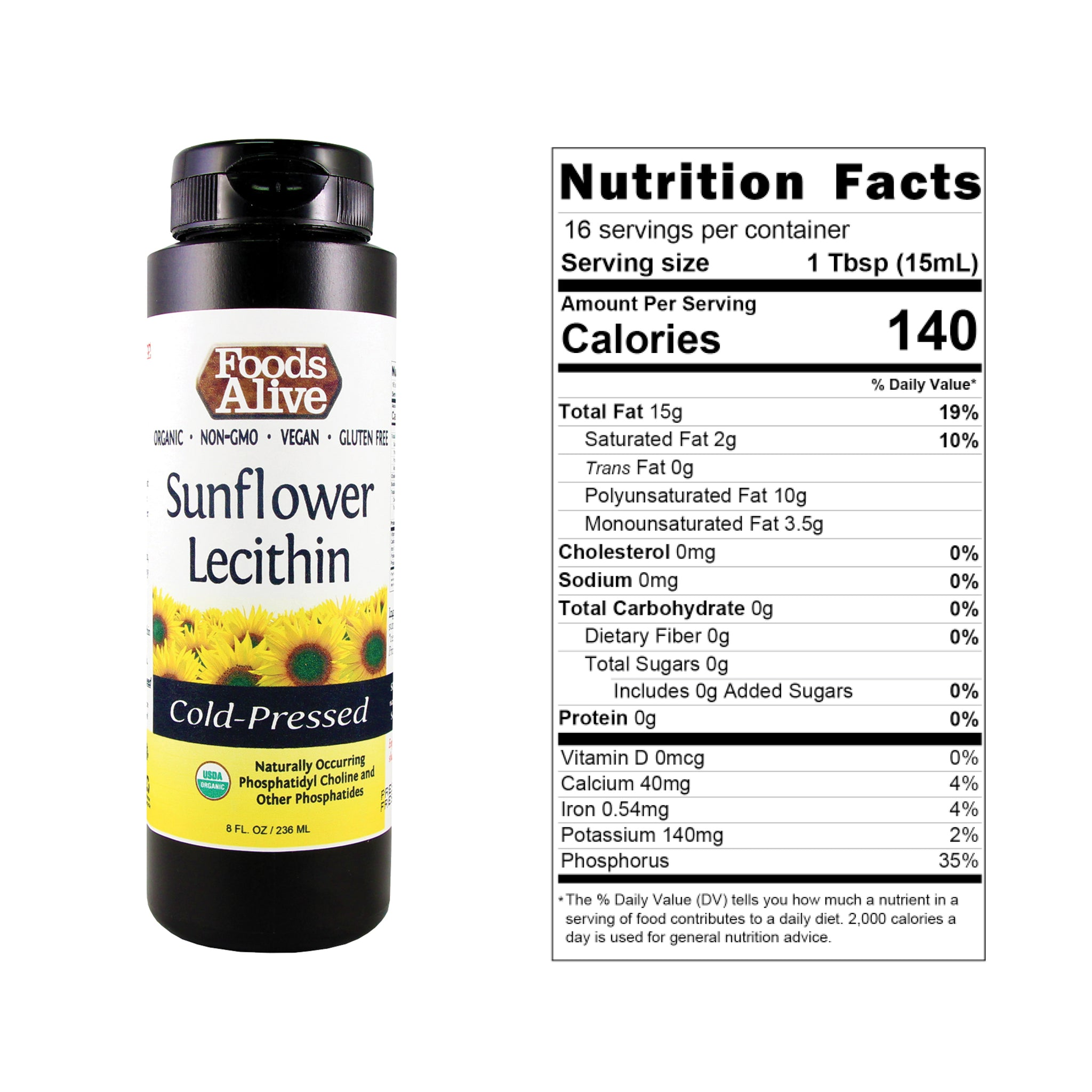 Organic Sunflower Lecithin 8oz with Nutritional Panel - Foods Alive