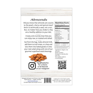 Organic Raw Almonds - 12oz - Back - Foods Alive