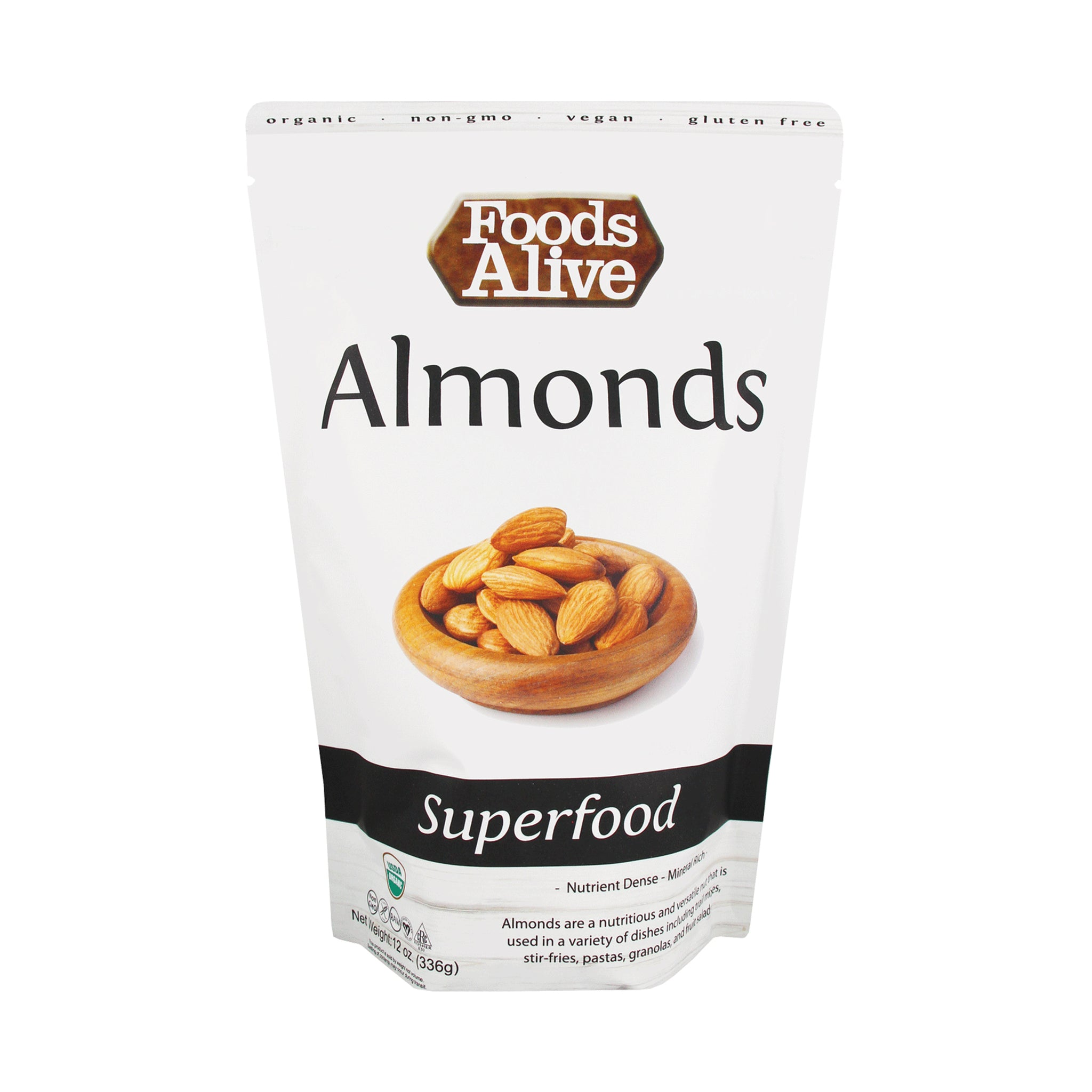 Organic Raw Almonds - 12oz - Front - Foods Alive