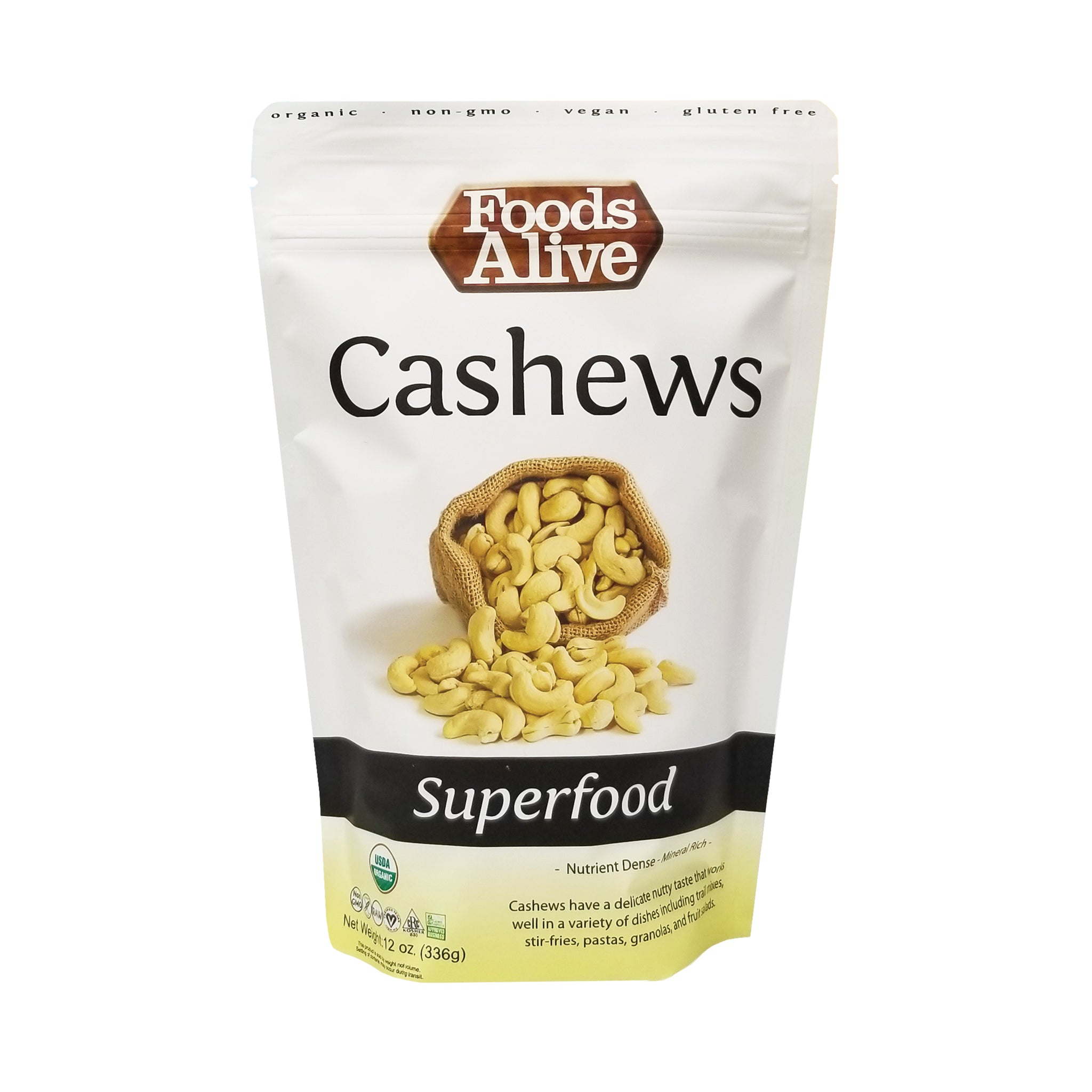 Organic Raw Cashews - 12oz - Front - Foods Alive