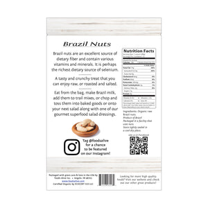 Organic Raw Brazil Nuts - 12oz - Back - Foods Alive