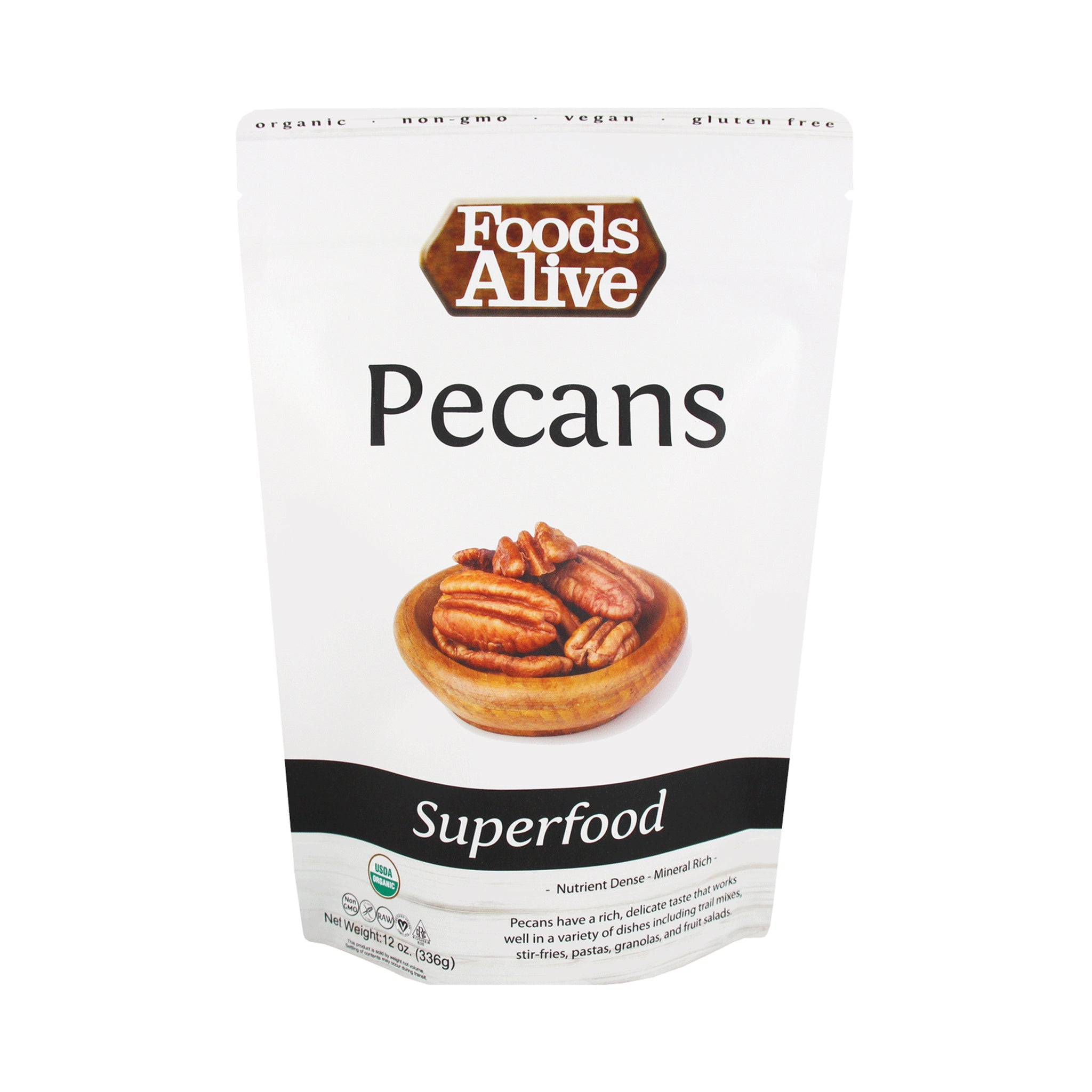 Organic Raw Pecans - 12oz - Front - Foods Alive