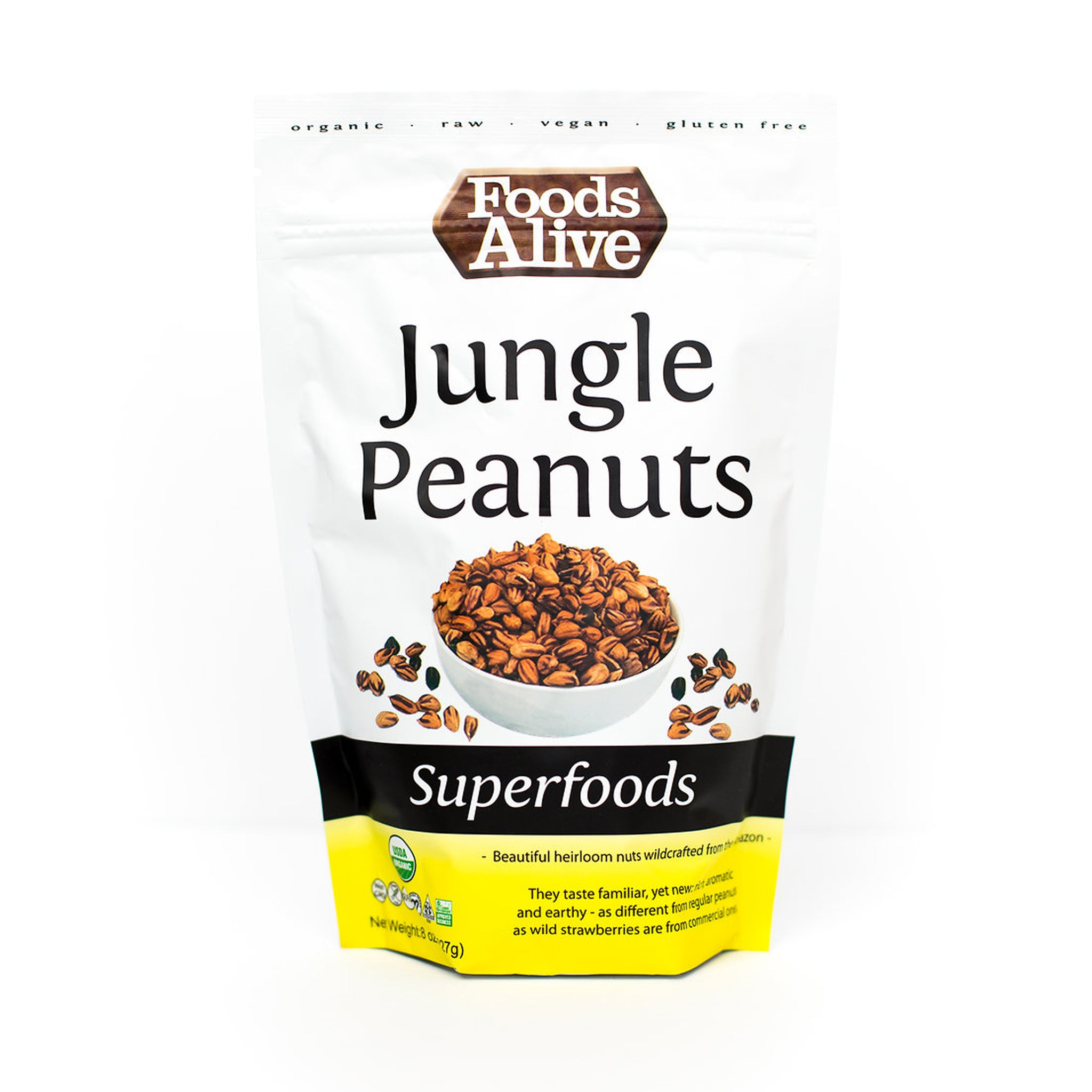 Foods Alive - Organic Wild Jungle Peanuts - 8 oz - Front