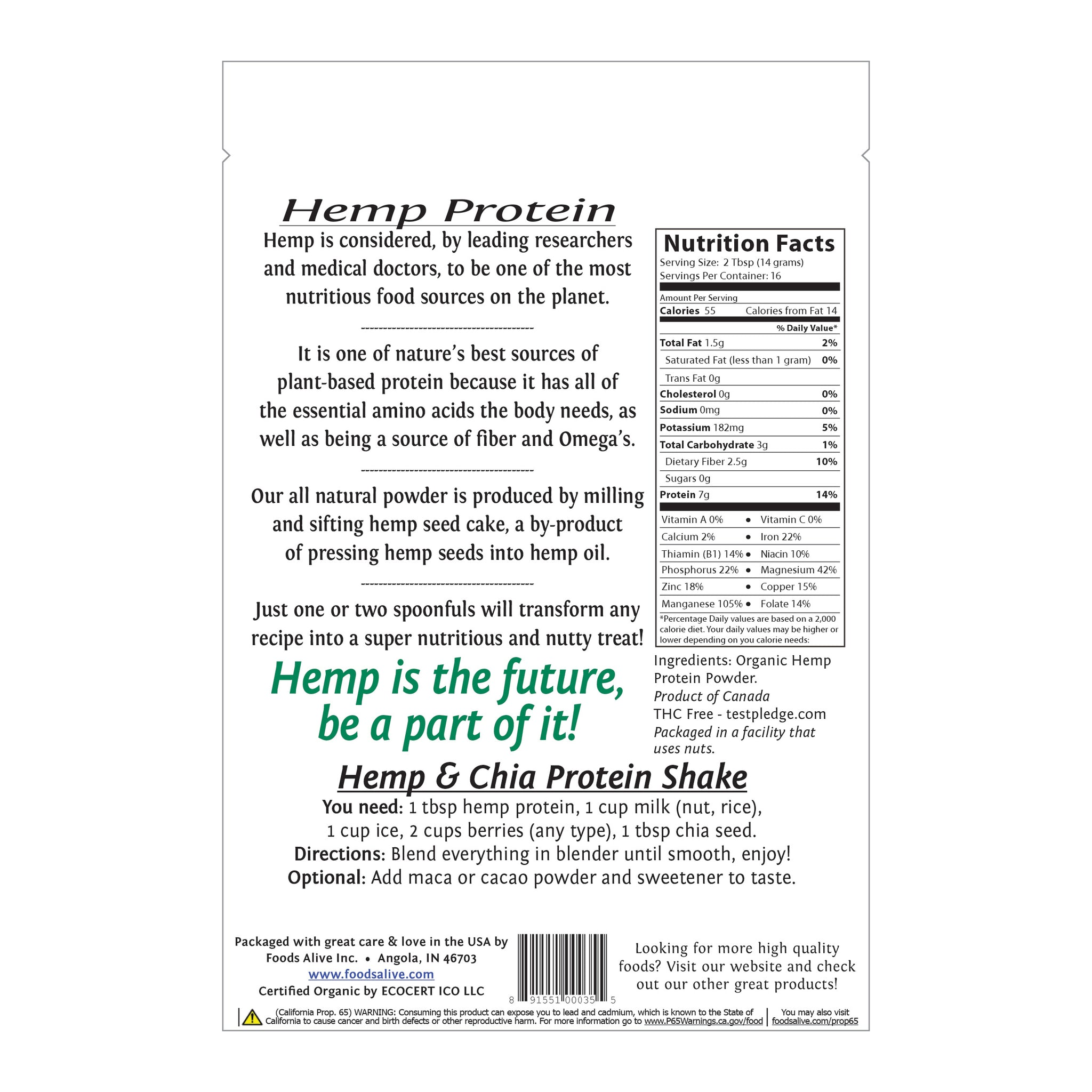 Foods Alive - Organic Hemp Protein Powder - 8 oz - Back