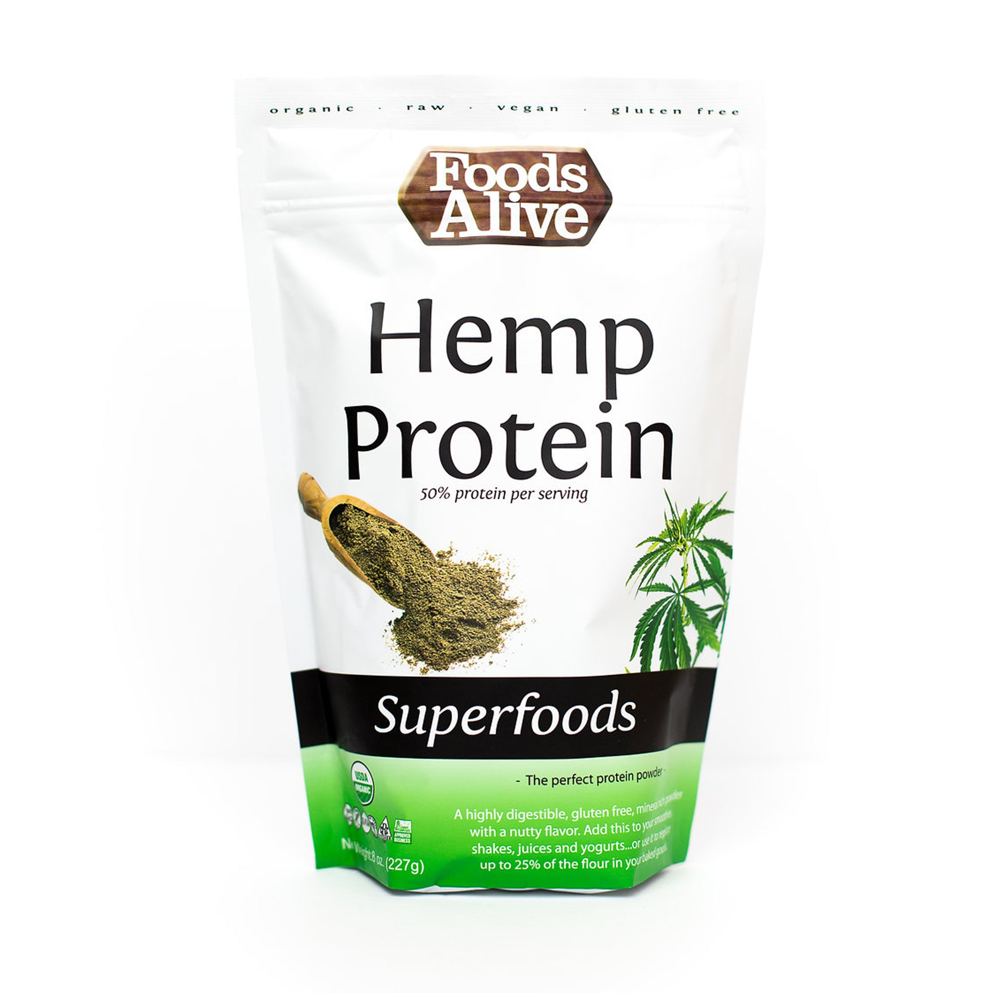 Foods Alive - Organic Hemp Protein Powder - 8 oz - Front