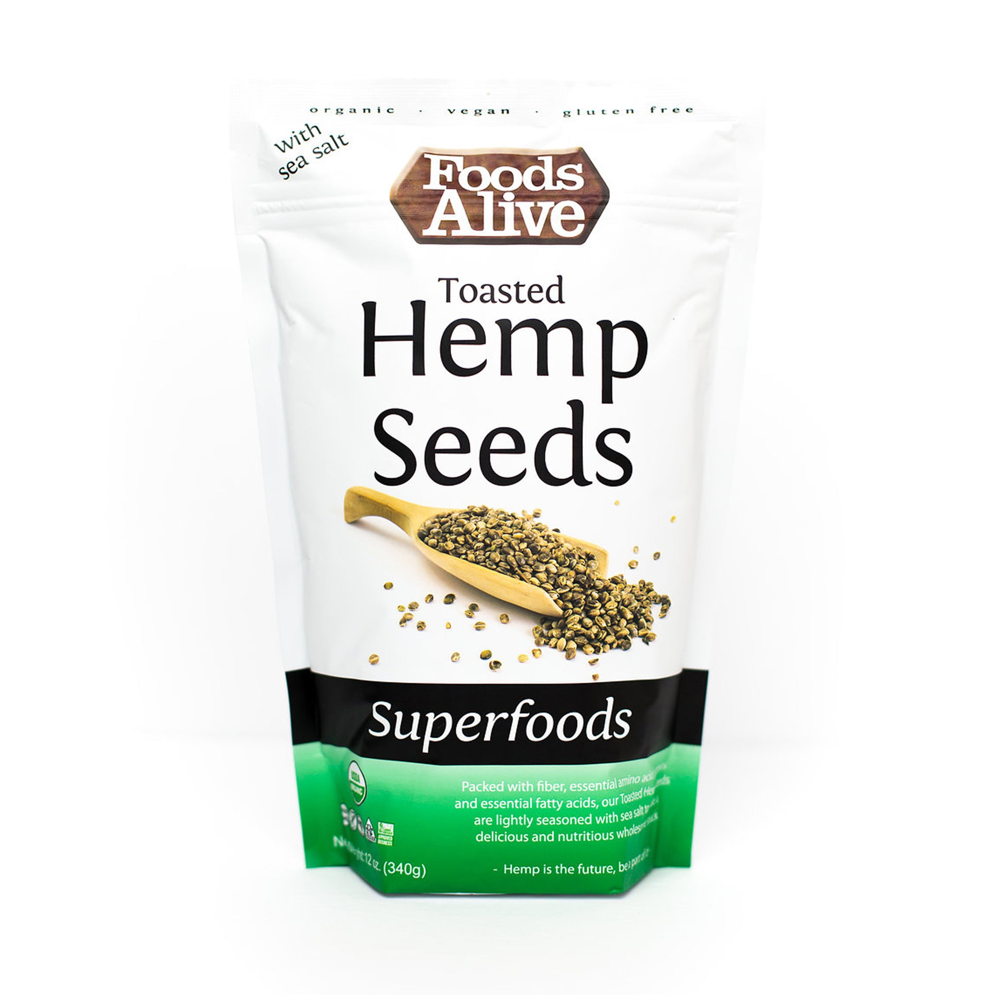 Foods Alive - Organic Toasted Hemp Seeds - 12 oz - Front