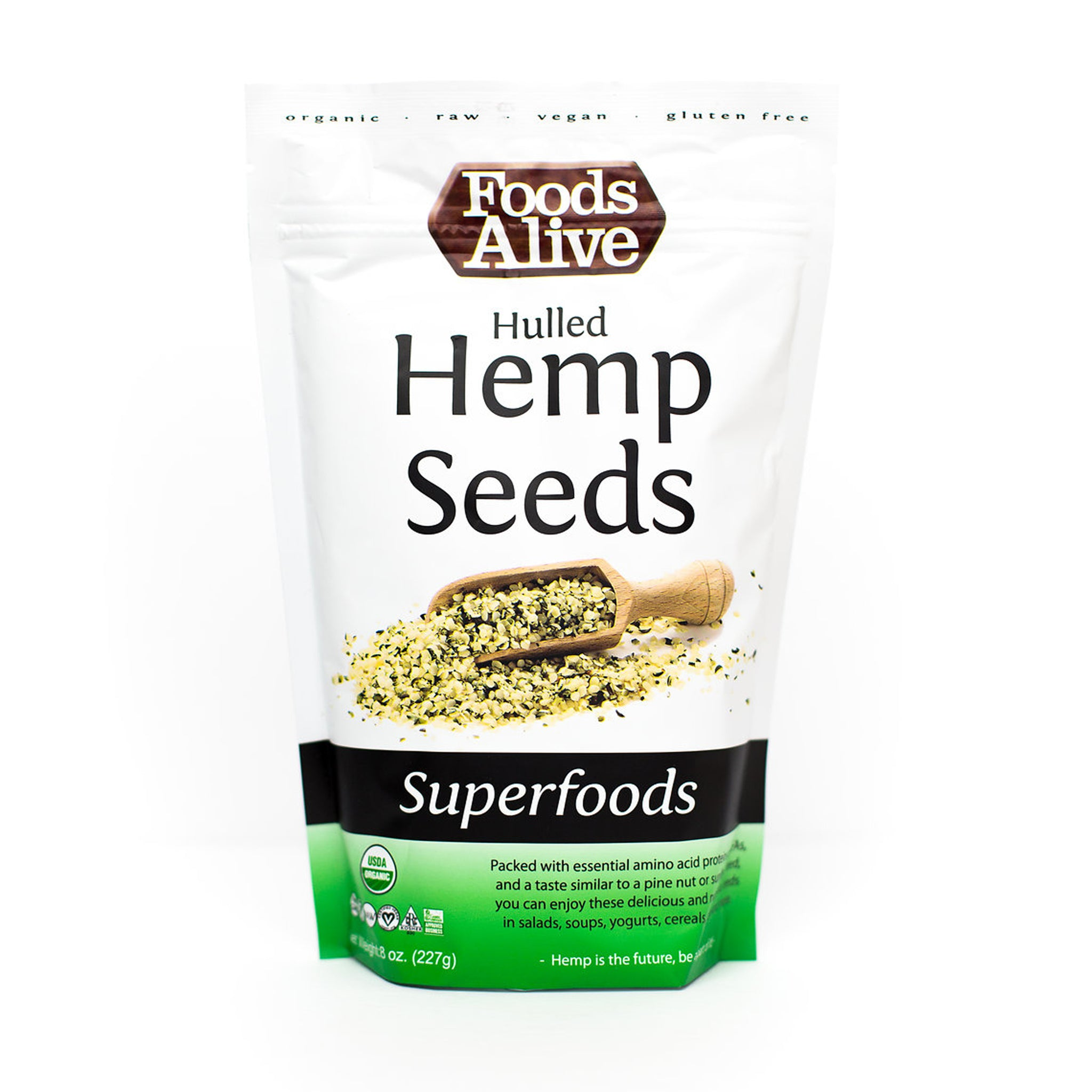 Foods Alive - Organic Hulled Hemp Seeds - 8 oz - Front