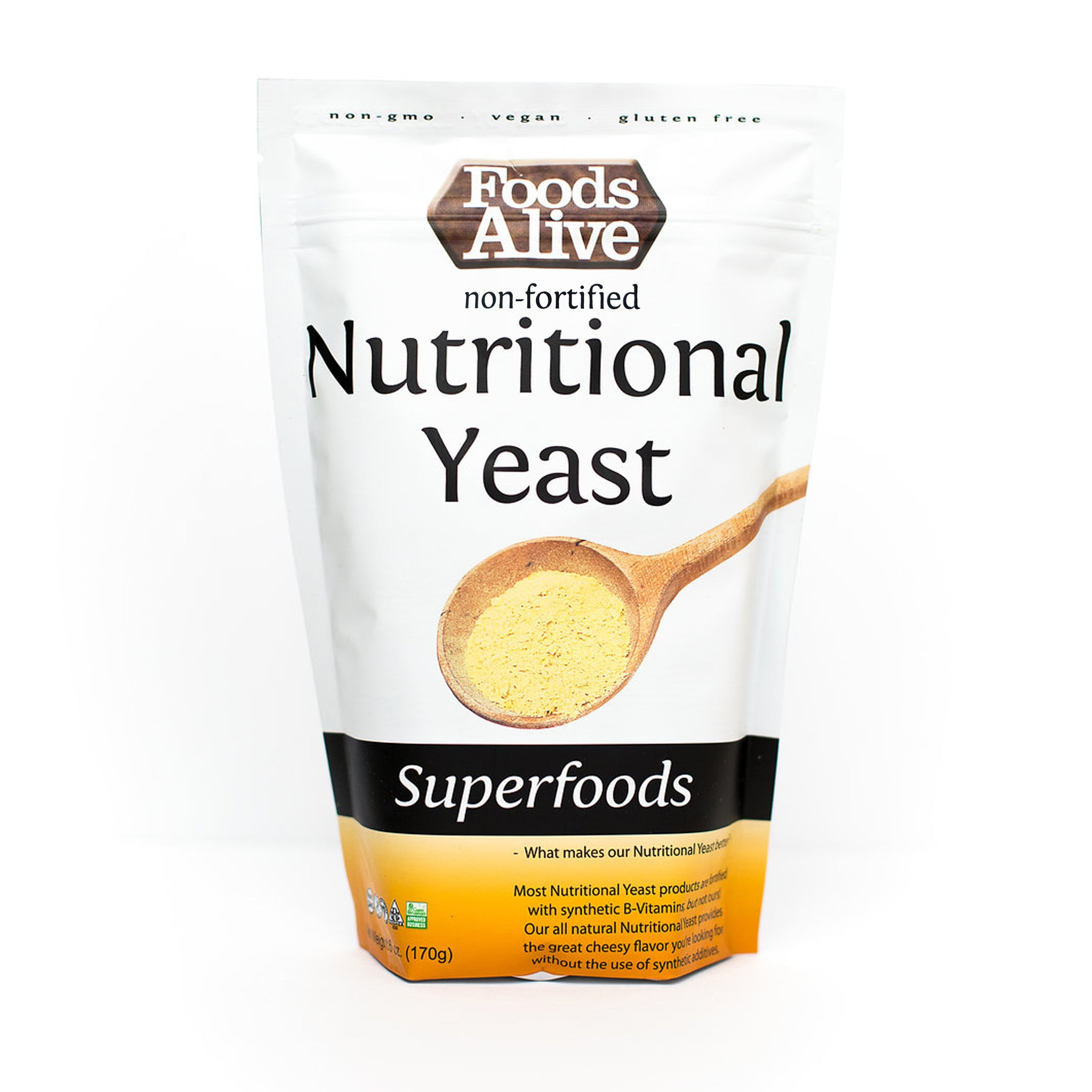 Foods Alive - Nutritional Yeast - Non-Fortified - Non-GMO - 6 oz - Front