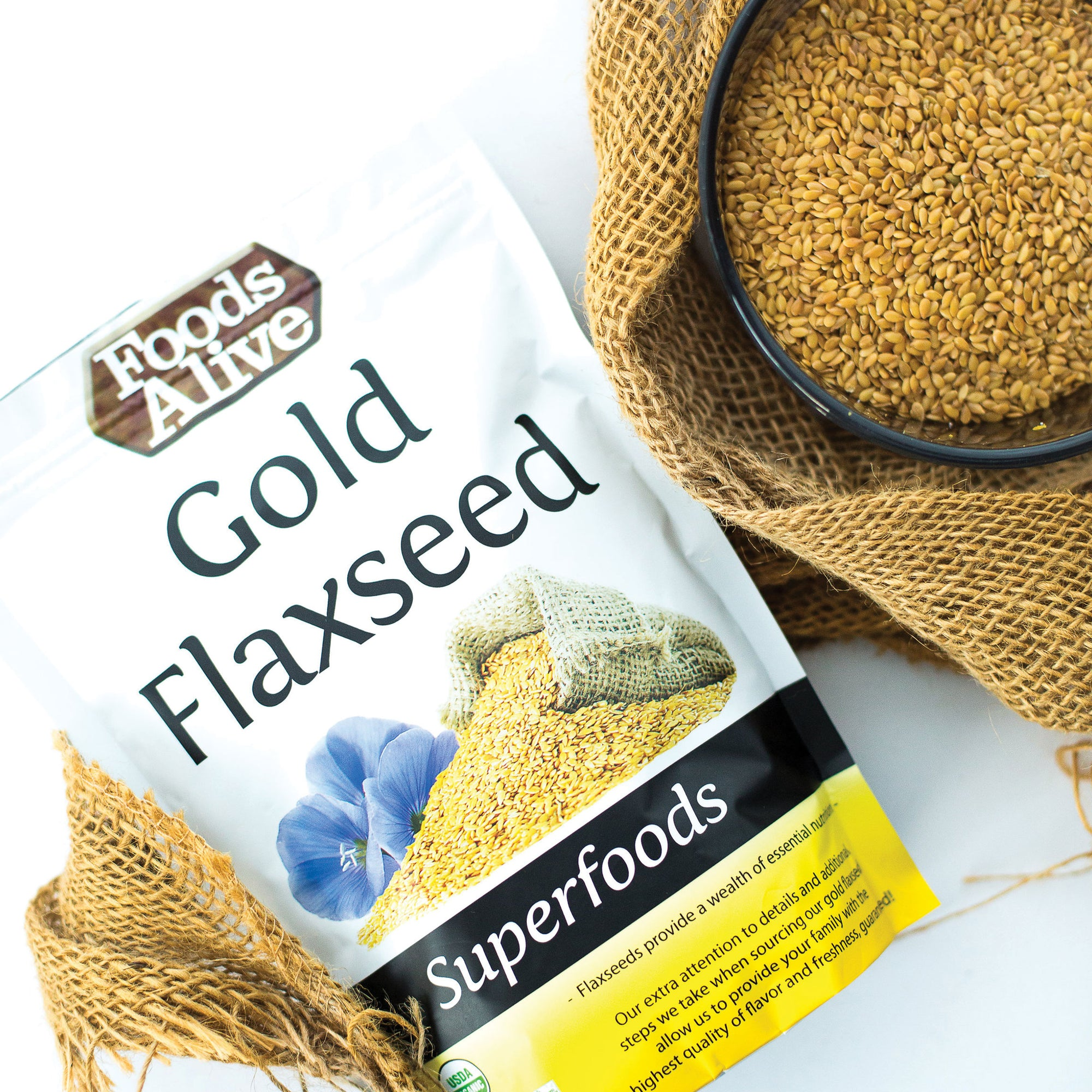 Foods Alive - Organic Golden Flax Seed - 14 oz