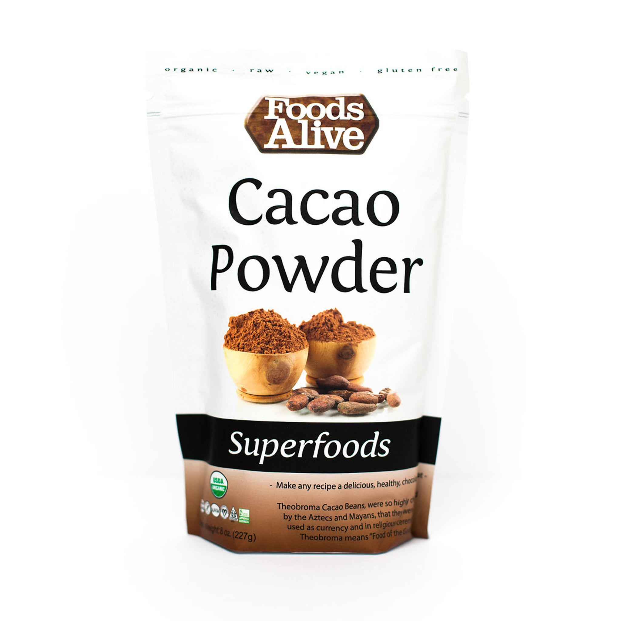 Foods Alive - Organic Cacao Powder - 8 oz - Front