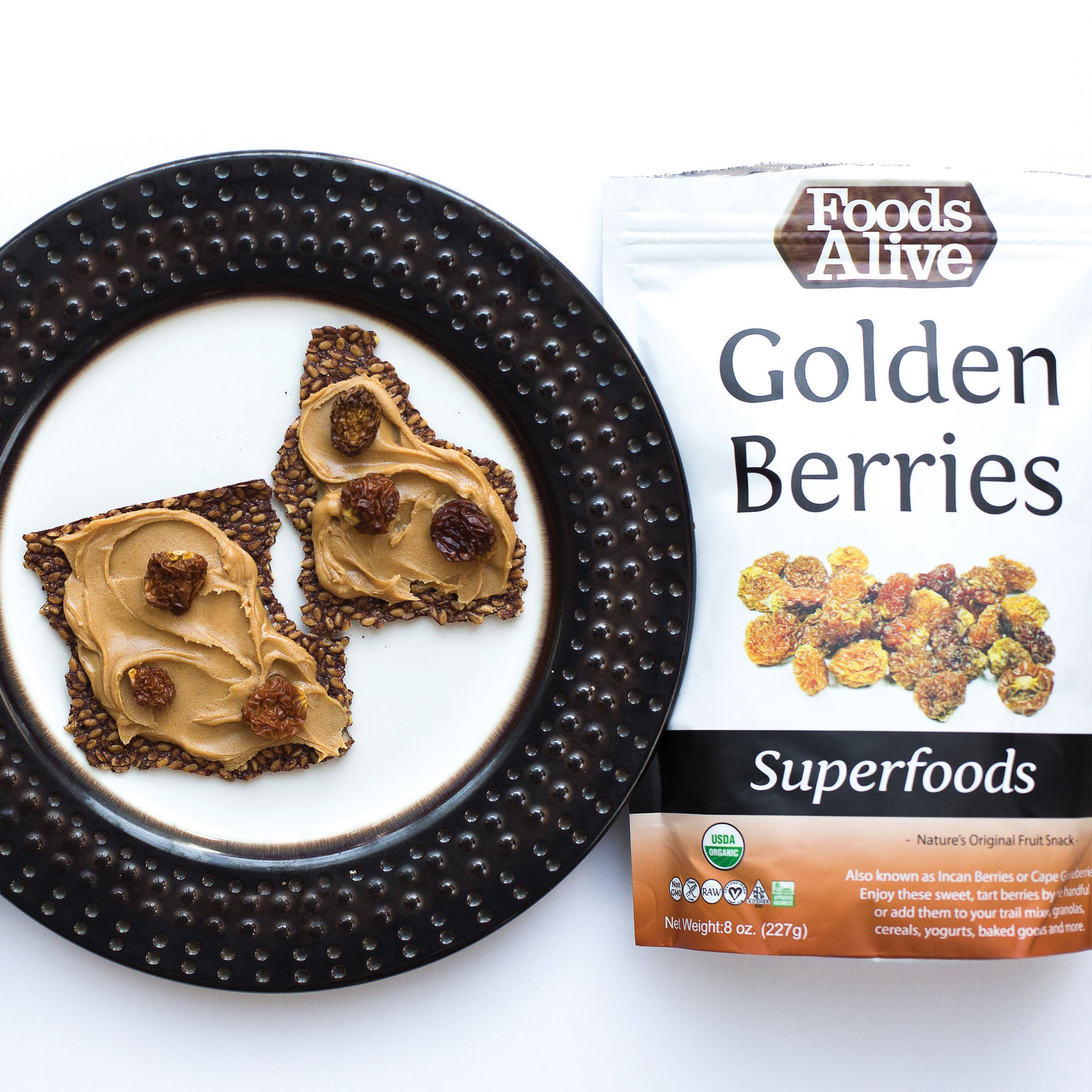 Organic Golden Berries & Maple Cinnamon Flax Snackers - Foods Alive