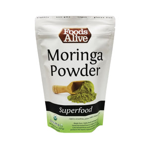 Organic Raw Moringa Leaf Powder - Nutrient-Dense Food - Foods Alive - Front