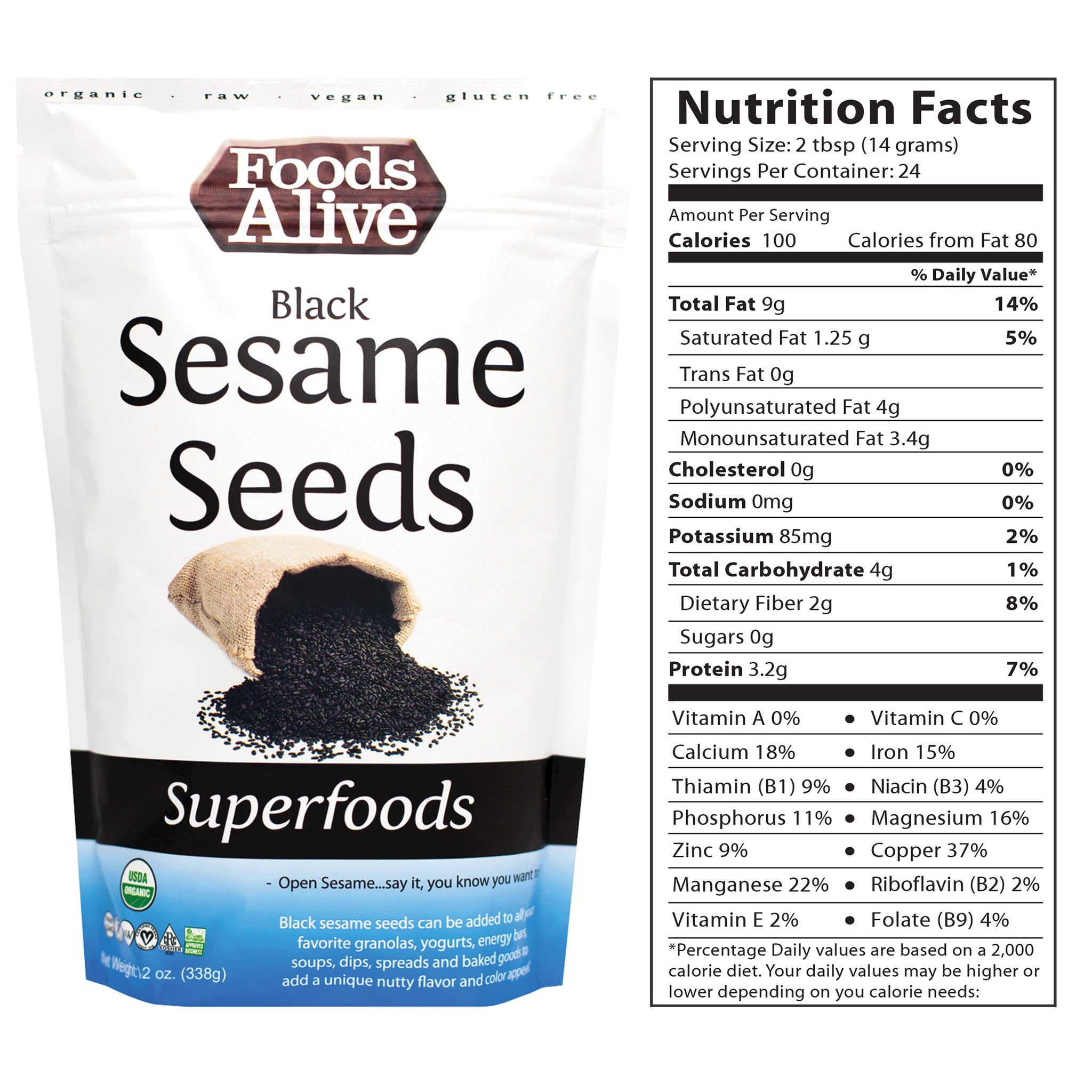 12oz Black Sesame Seed with Nutritional Panel - Organic - Foods Alive