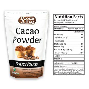 Organic Cacao Powder 8oz With Nutritional Panel - Foods Alive