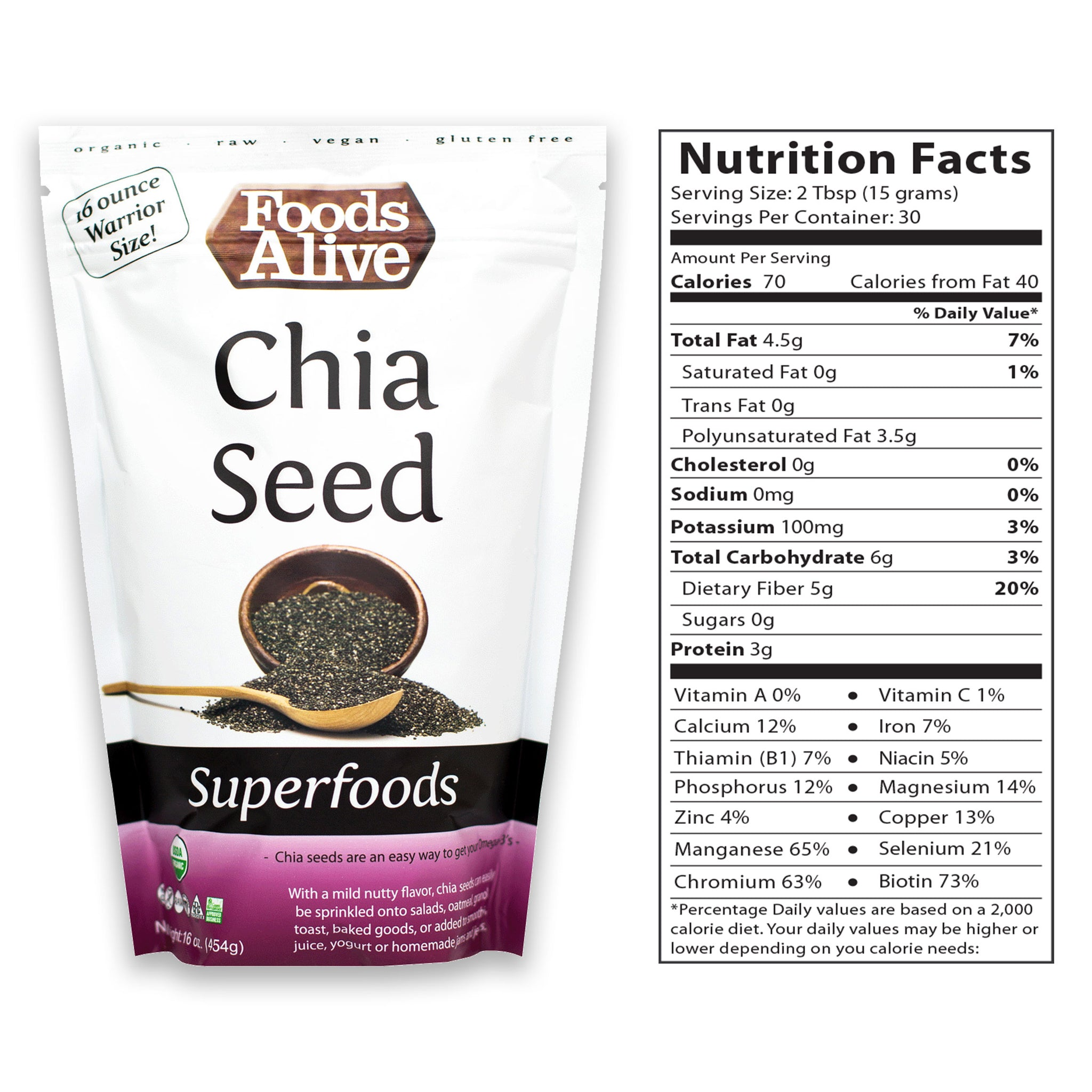 Organic Chia Seed 16oz With Nutritional Panel - Foods Alive