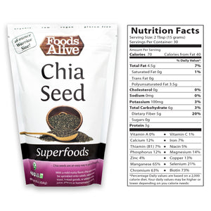 16oz Chia Seed with Nutritional Panel - Organic - Foods Alive