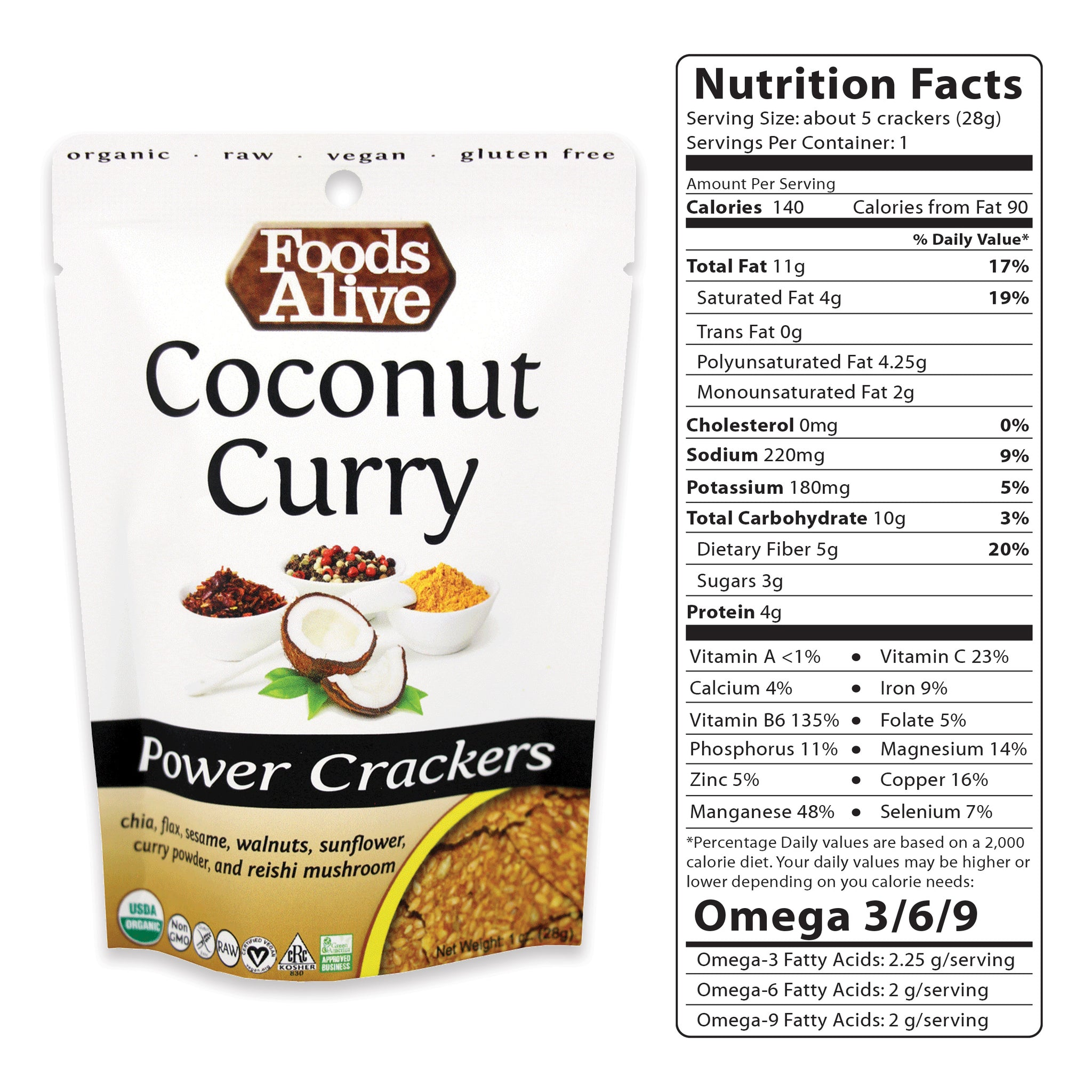 1oz Coconut Curry Power Crackers - Organic, Gluten Free, Non-GMO, Raw, Vegan, Kosher - Foods Alive