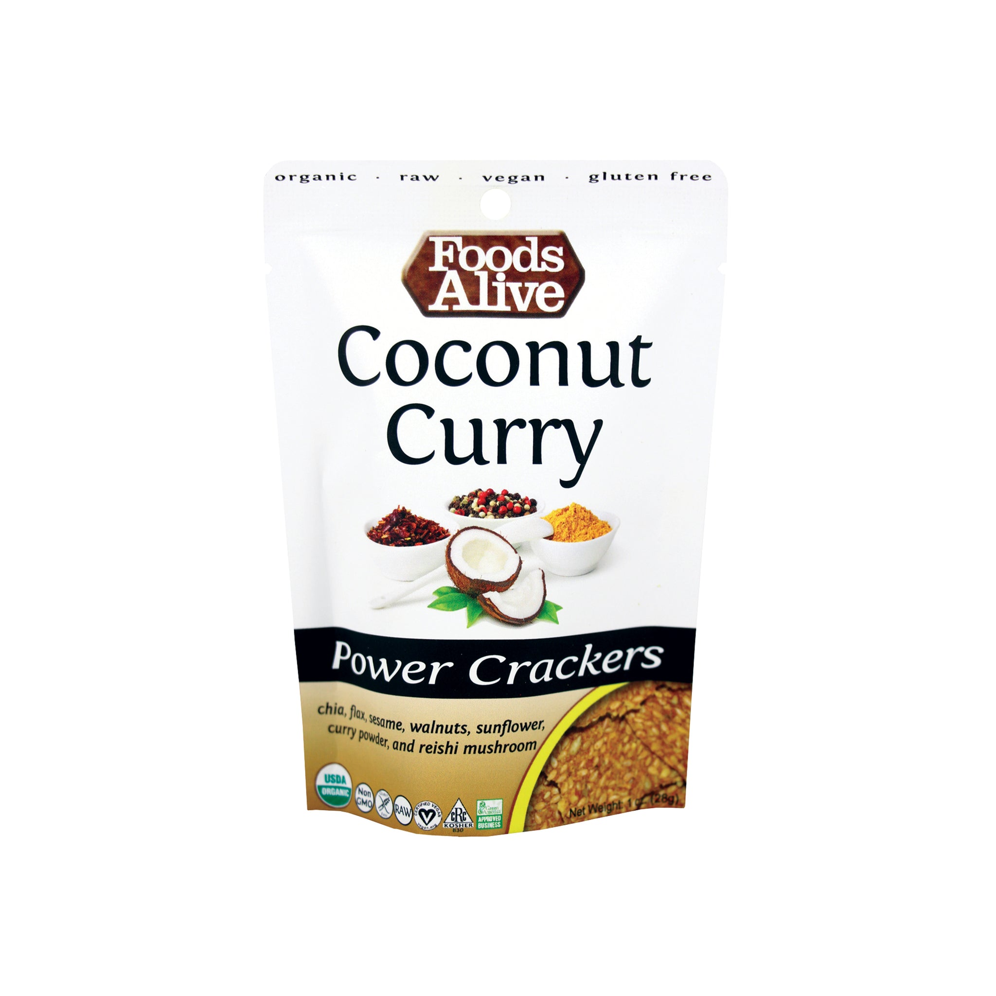 Foods Alive - Organic Power Crackers - Coconut Curry - 1 oz