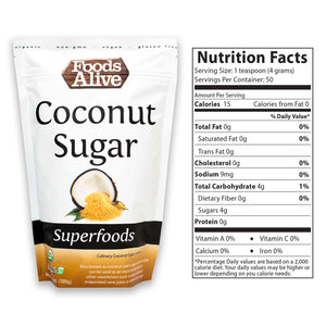 Organic Coconut Sugar 14oz With Nutritional Panel - Foods Alive