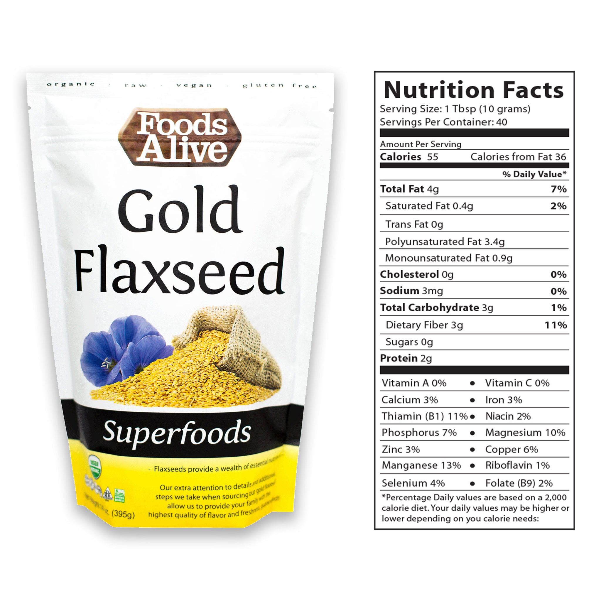 16oz Golden Flax Seed with Nutritional Panel - Organic - Foods Alive