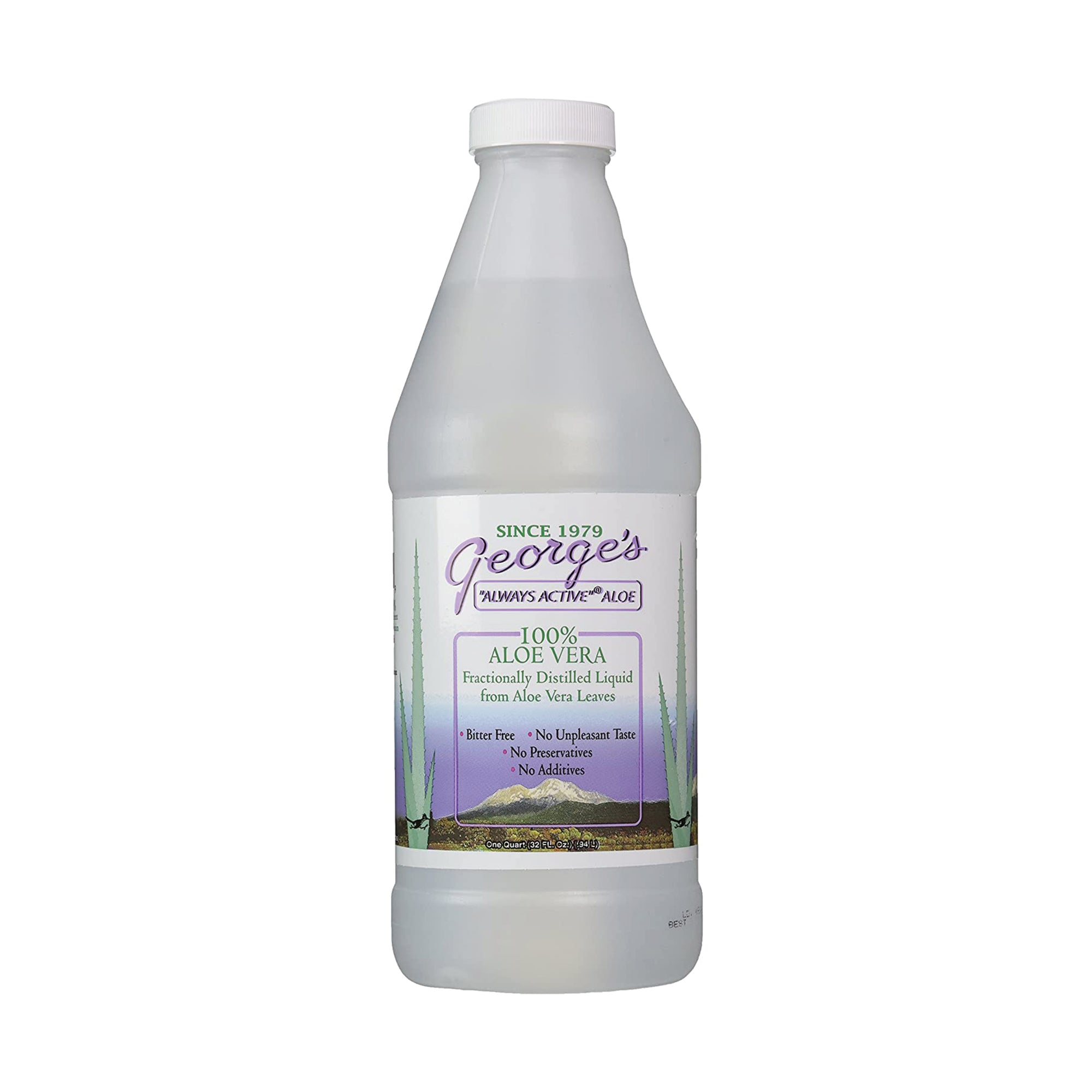 George's 100% Aloe Vera Liquid 32 fl oz - Fractionally Distilled, Bitter Free, No Unpleasant Taste, No Preservatives, No Additives