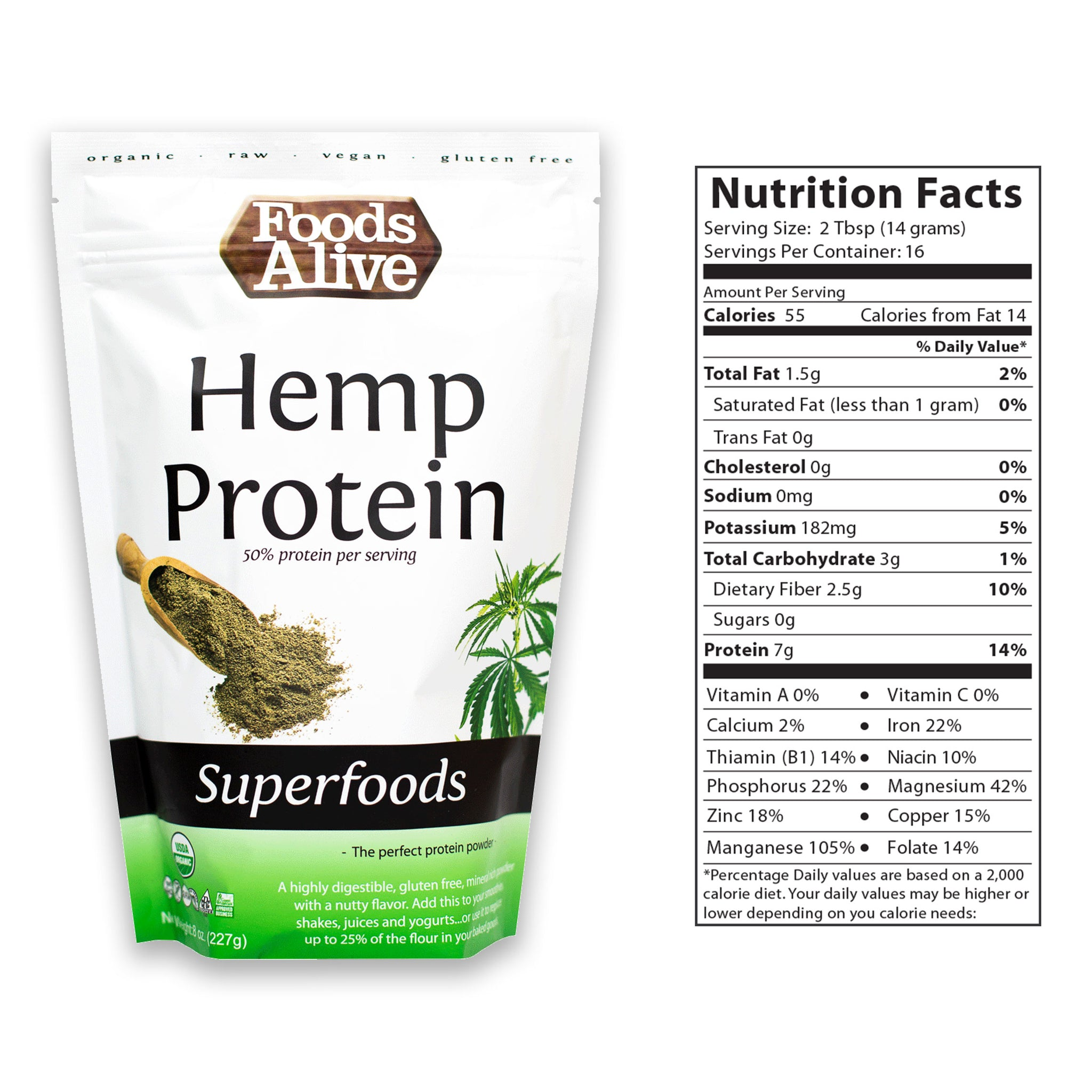 Hemp Protein Powder 8oz With Nutritional Panel - Foods Alive
