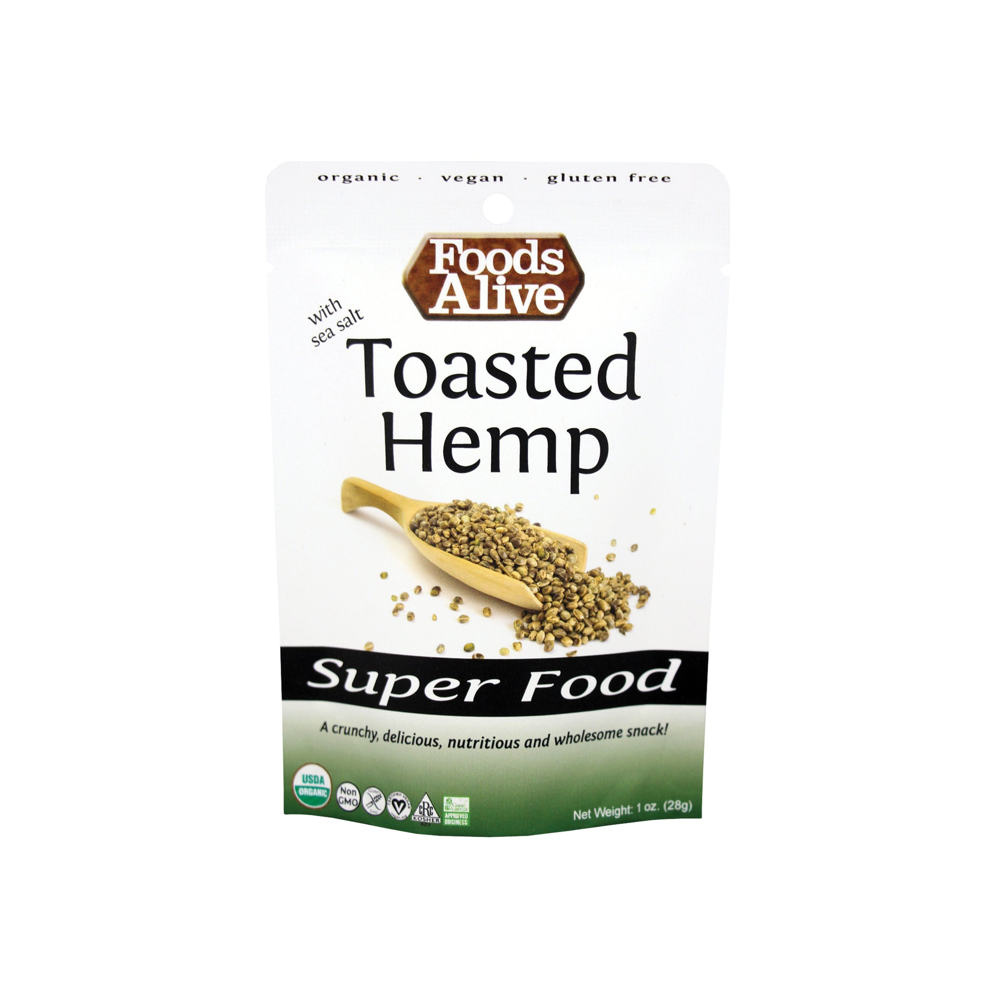 Foods Alive - Organic Toasted Hemp Seeds - Sample 1oz - Front