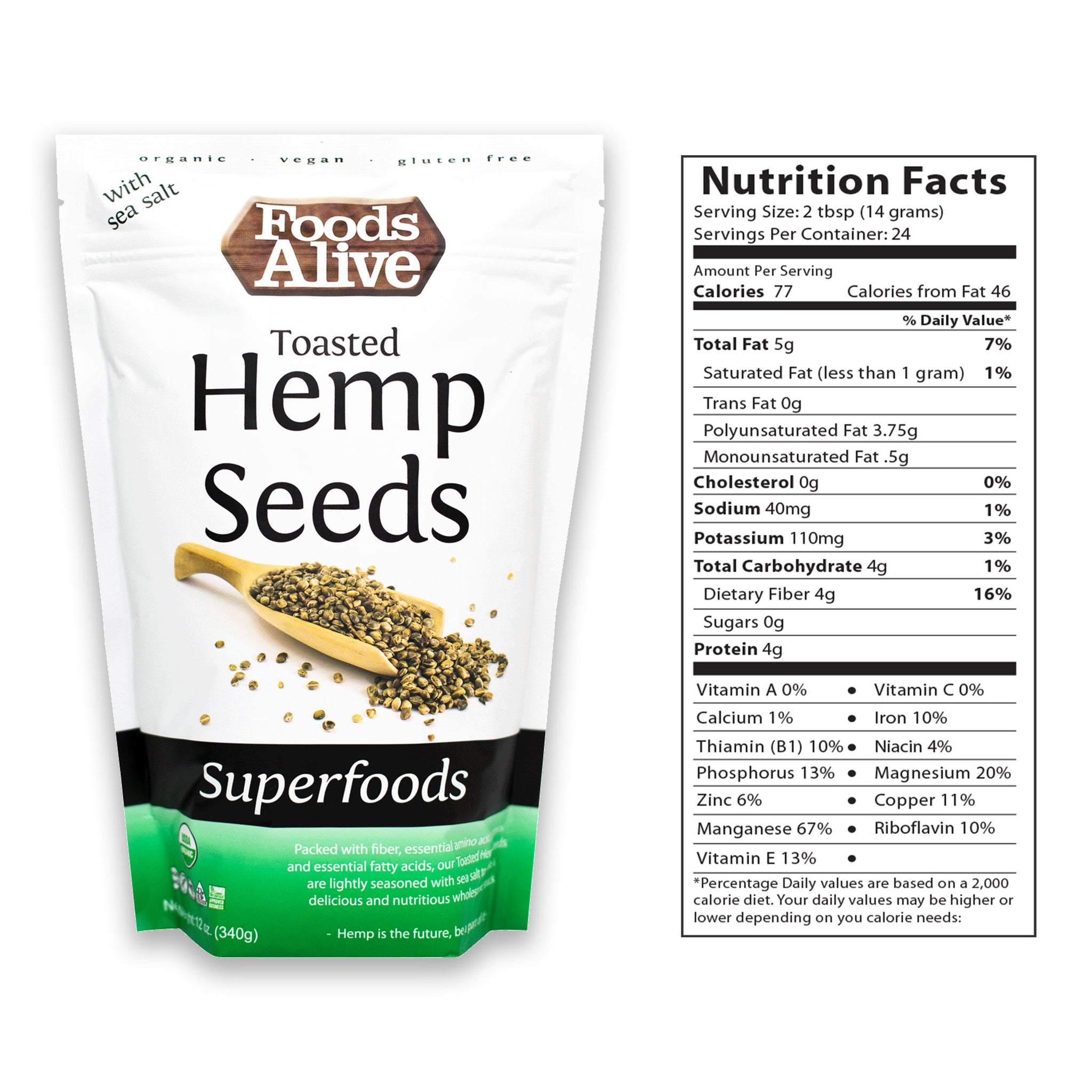 12oz Organic Toasted Hemp Seeds - Foods Alive