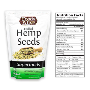 Organic Hulled Hemp Seeds 8oz With Nutritional Panel - Foods Alive