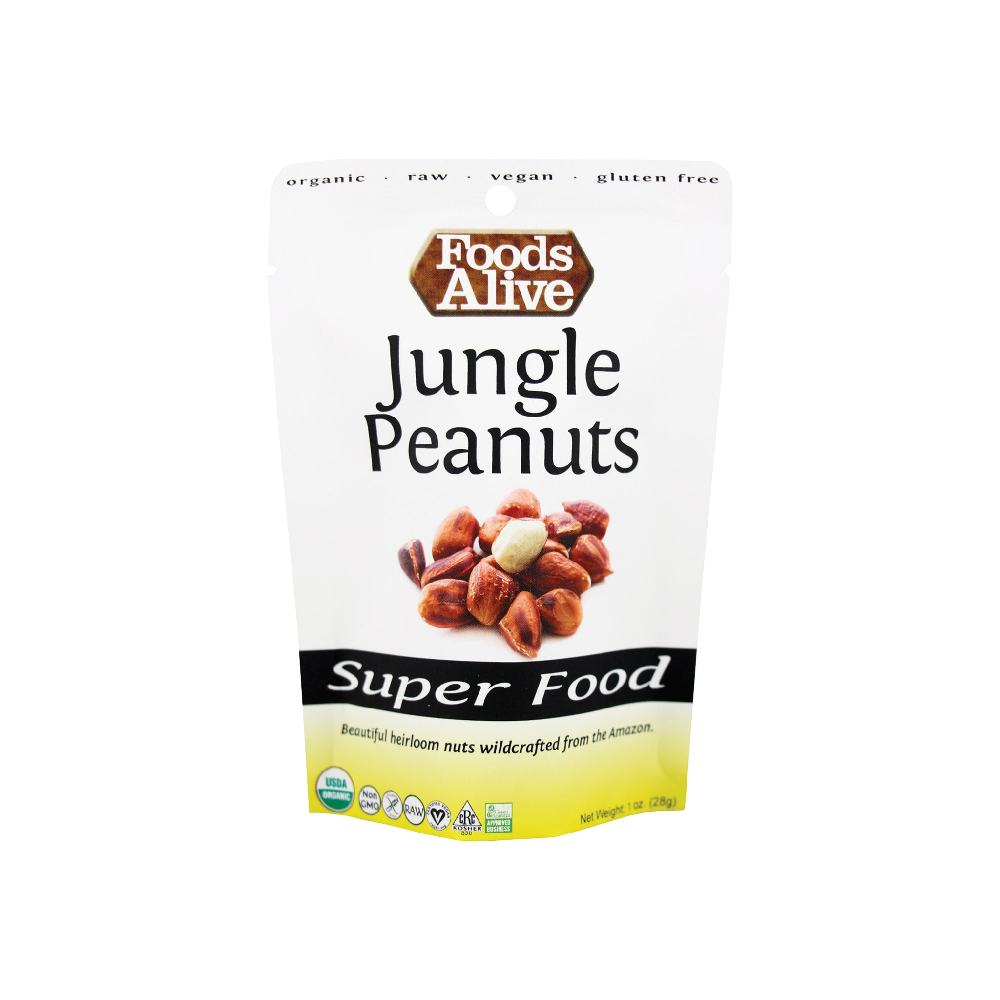 Foods Alive - Organic Wild Jungle Peanuts - Sample 1oz - Front