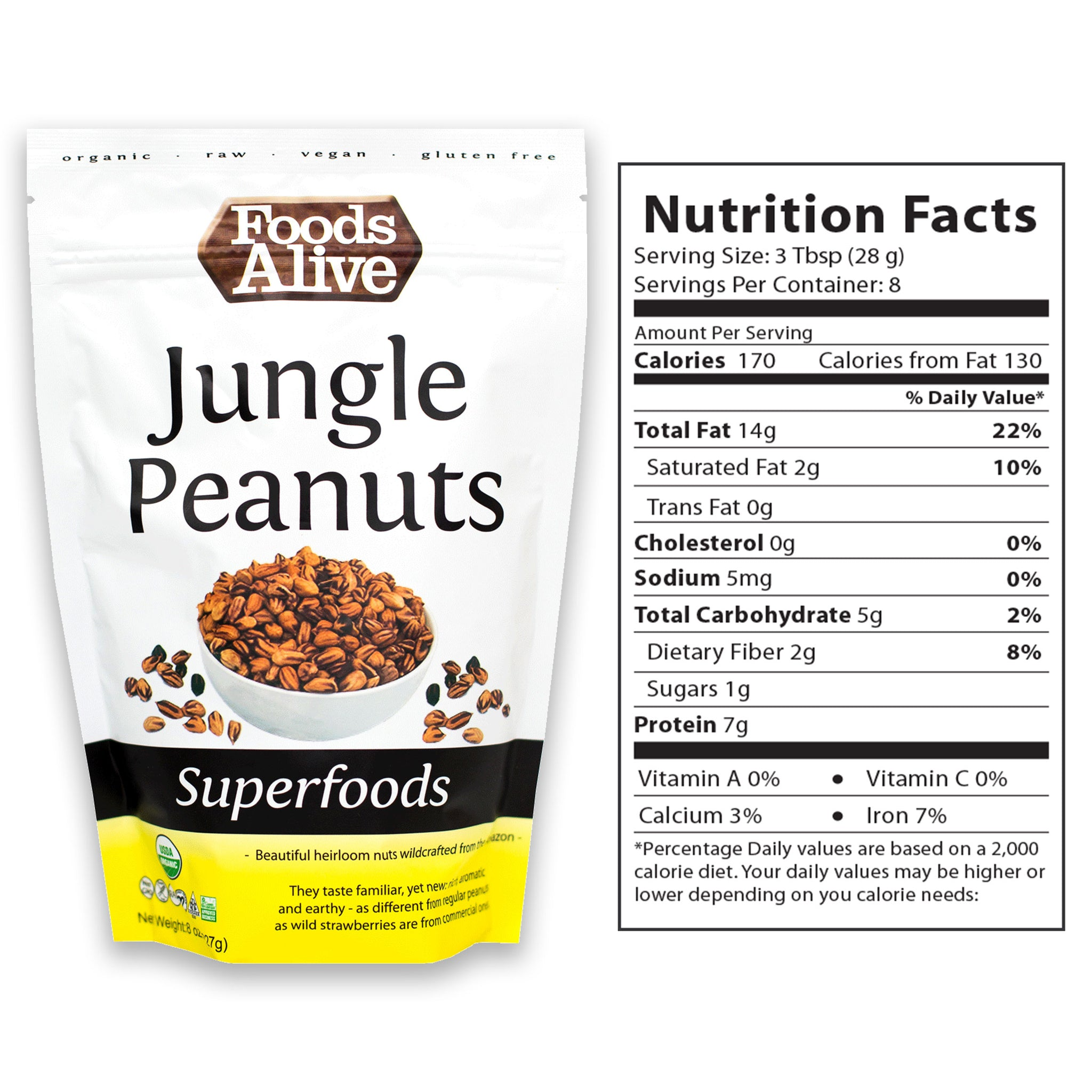 Organic Wild Jungle Peanuts 8oz With Nutritional Panel - Foods Alive