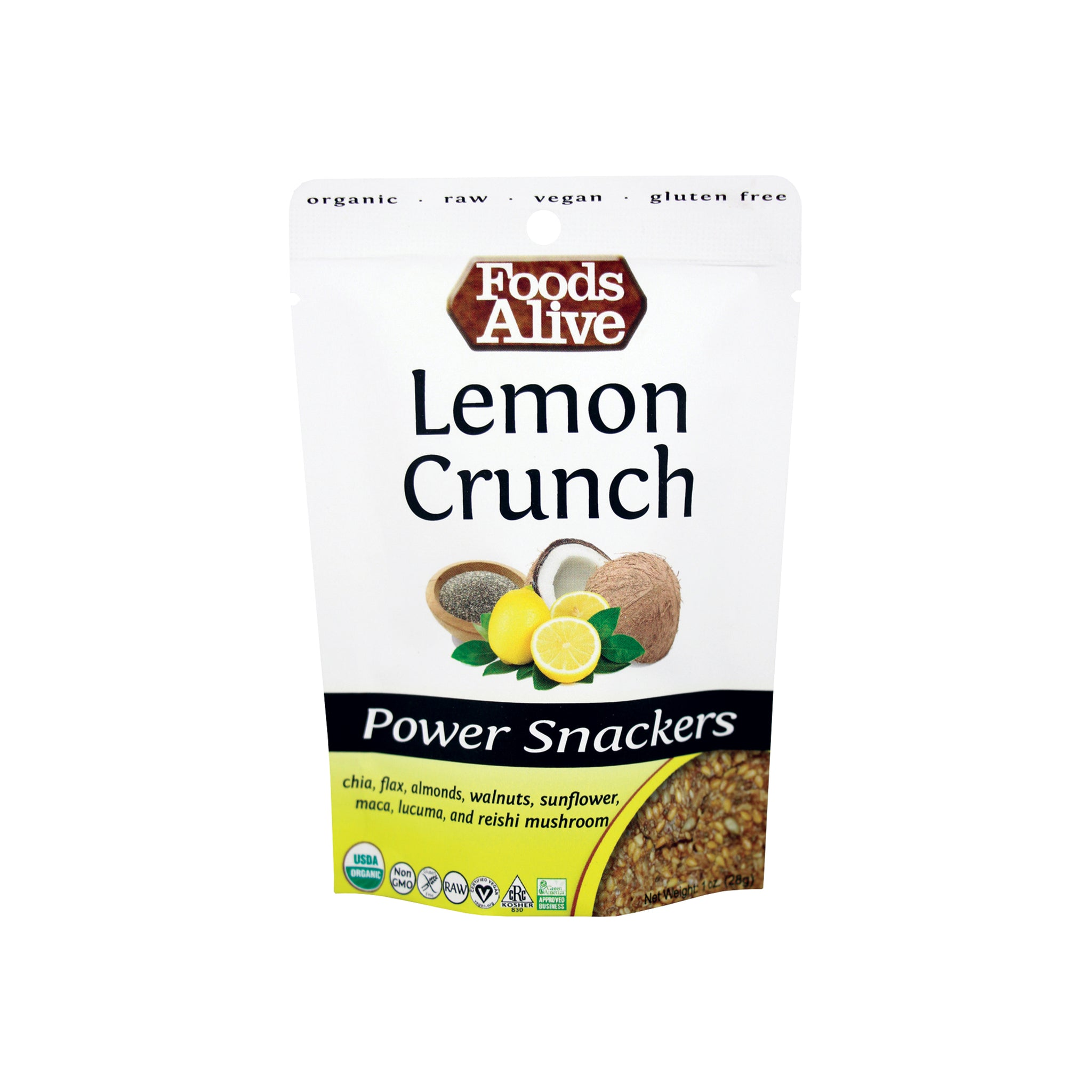 Foods Alive - Organic Power Crackers - Lemon Chia Crunch - 1 oz