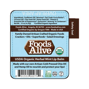 Foods Alive - Organic Hemp & Chia Herbal Lip Balm Label