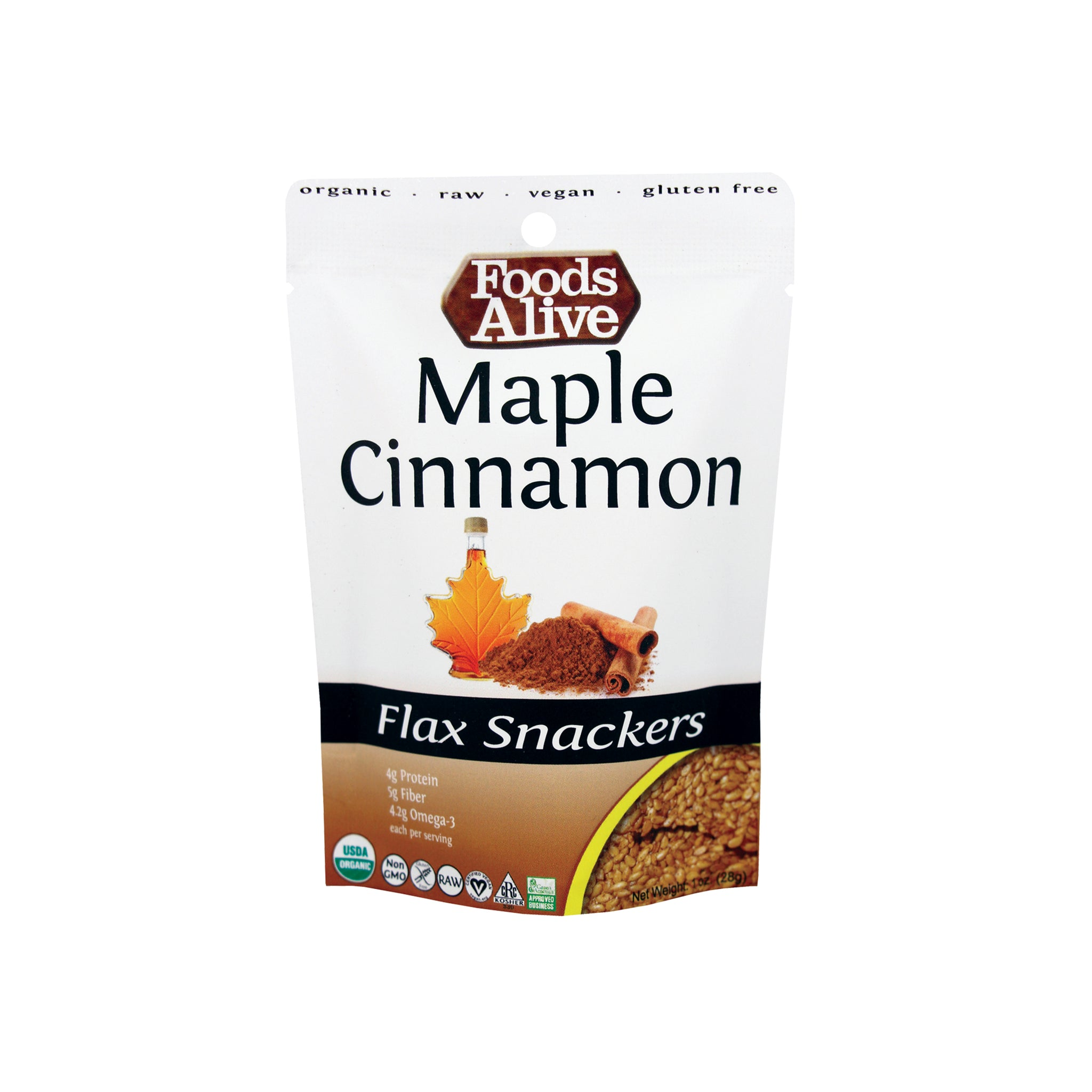 Foods Alive - Organic Flax Snackers - Maple Cinnamon - 1 oz