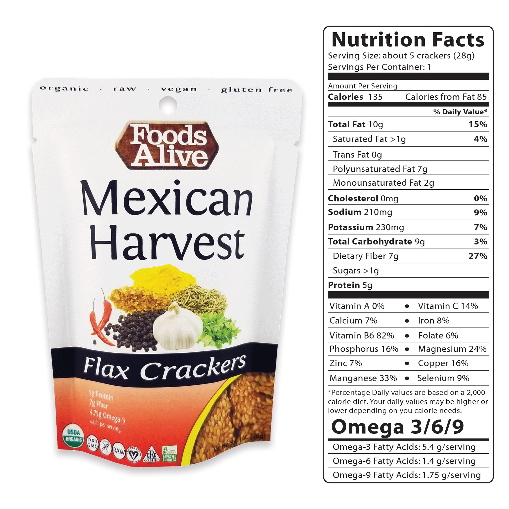 1oz Mexican Harvest Flax Crackers - Organic, Gluten Free, Non-GMO, Raw, Vegan, Kosher - Foods Alive