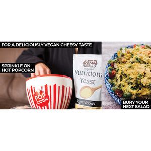 Cheesy popcorn with nutritional yeast and bury your salad with nooch