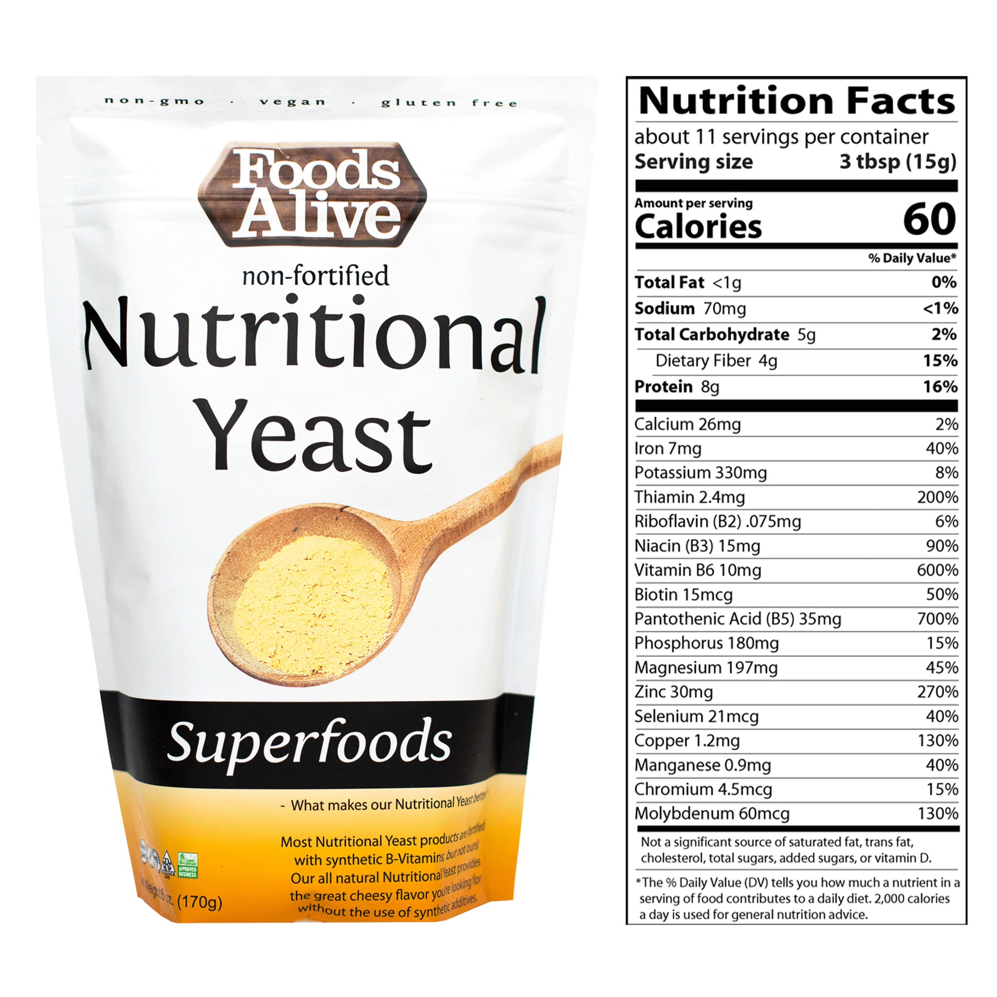 Nutritional Yeast - Non-Fortified and Non-GMO - 6oz With Nutritional Panel - Foods Alive