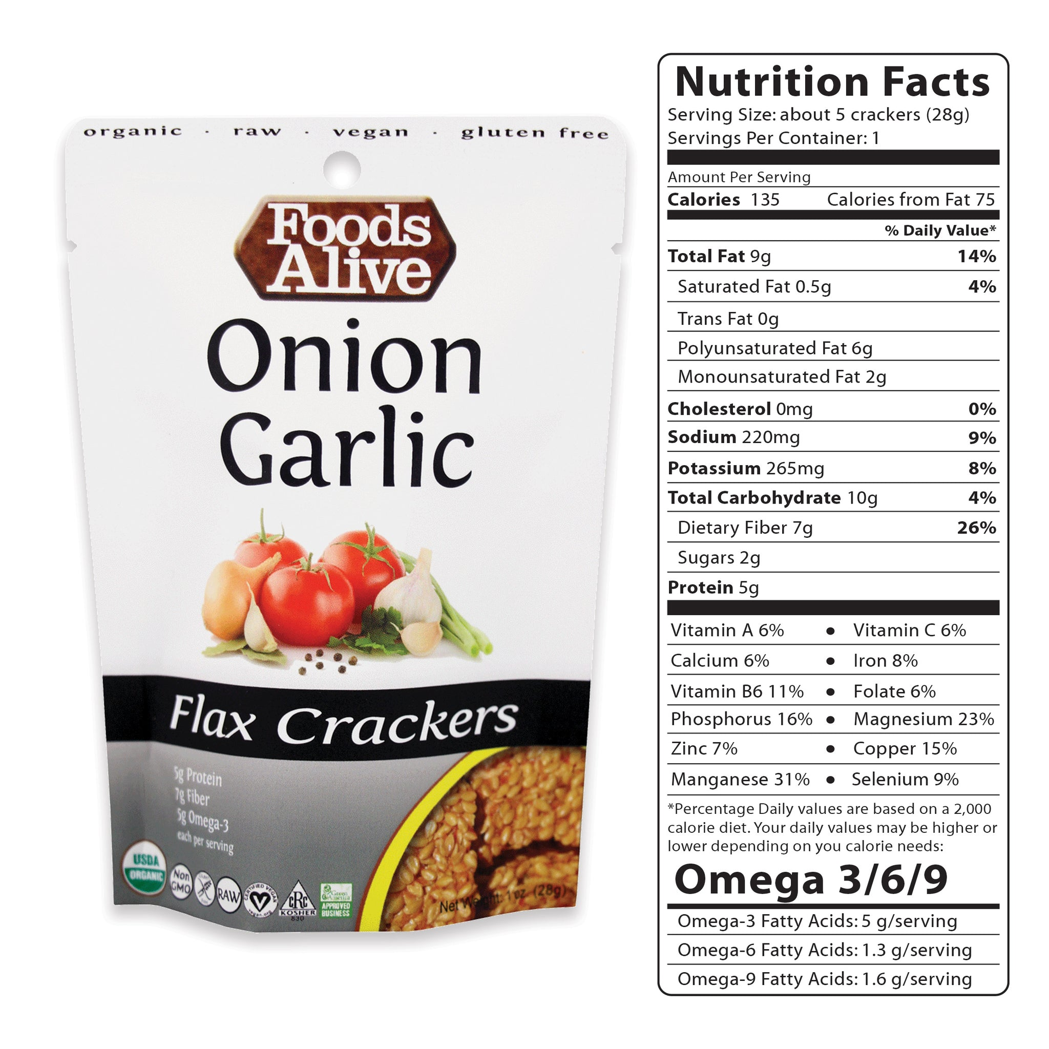 1oz Onion Garlic Flax Crackers - Organic, Gluten Free, Non-GMO, Raw, Vegan, Kosher - Foods Alive