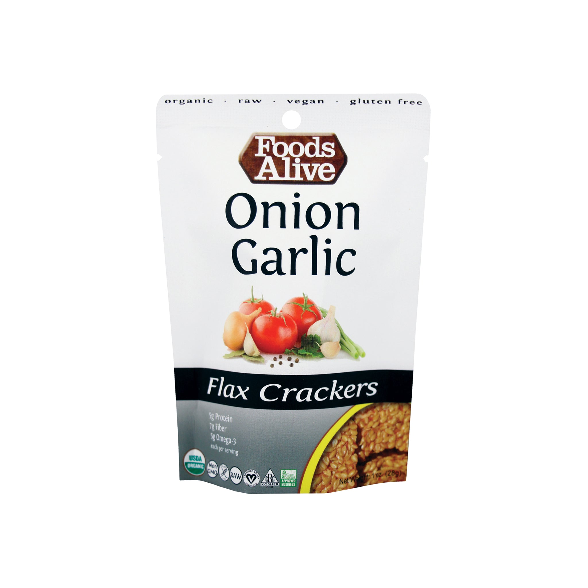 Foods Alive - Organic Flax Crackers - Onion Garlic & Original - 1 oz